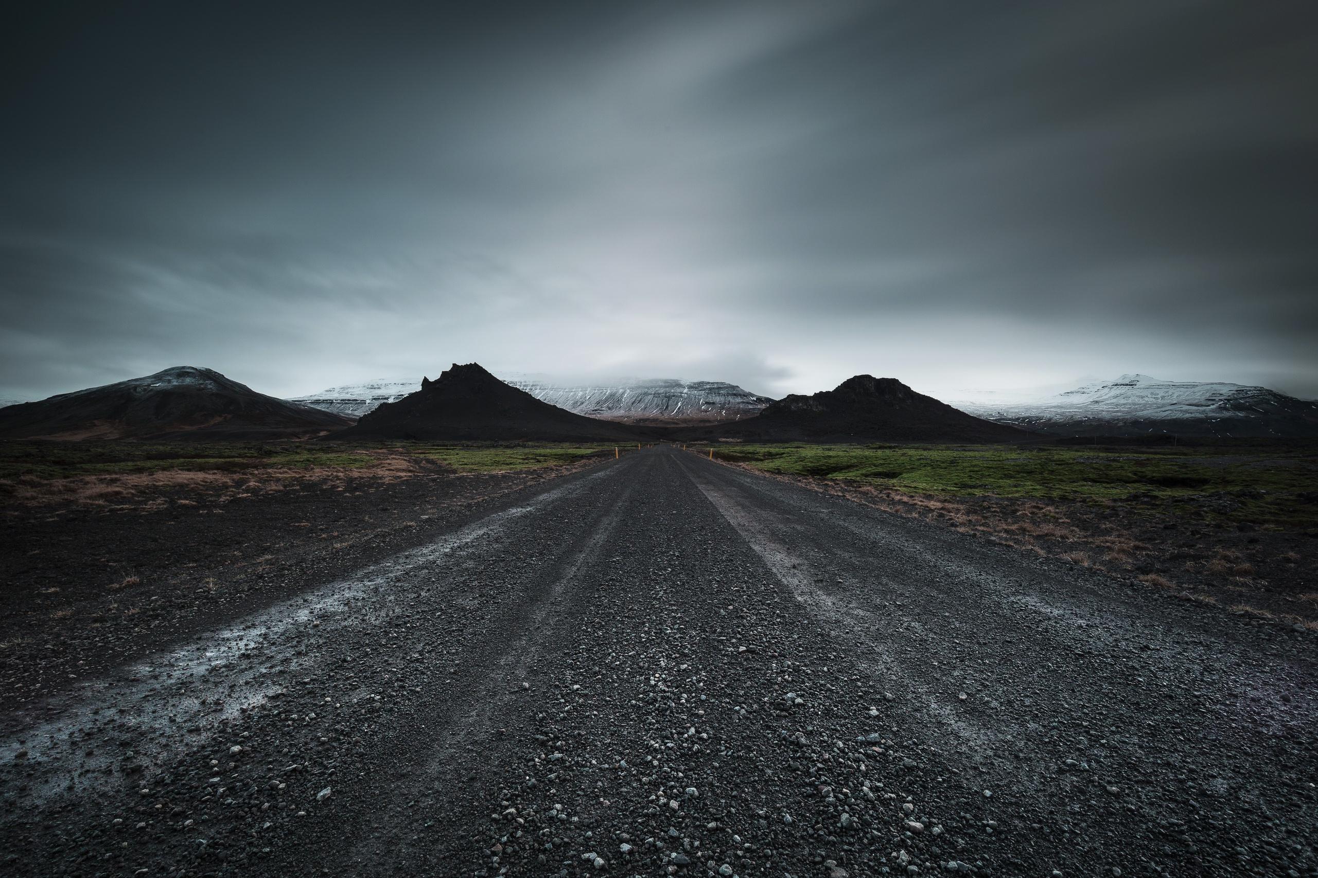 Wallpaper Dark Sky Dirt Road Landscape 2561x1707