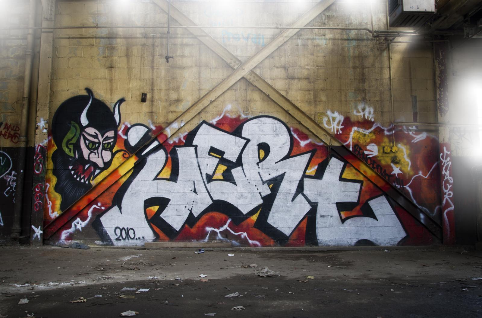 Dark wall devil graffiti street art mural art area newyork ny nyc newyorkcity queens piece hert