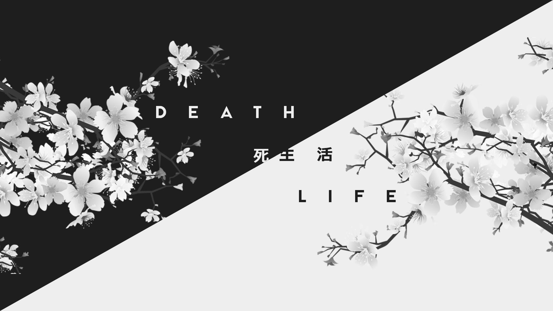 Wallpaper Dark White Life Death Kanji Japan 1920x1080