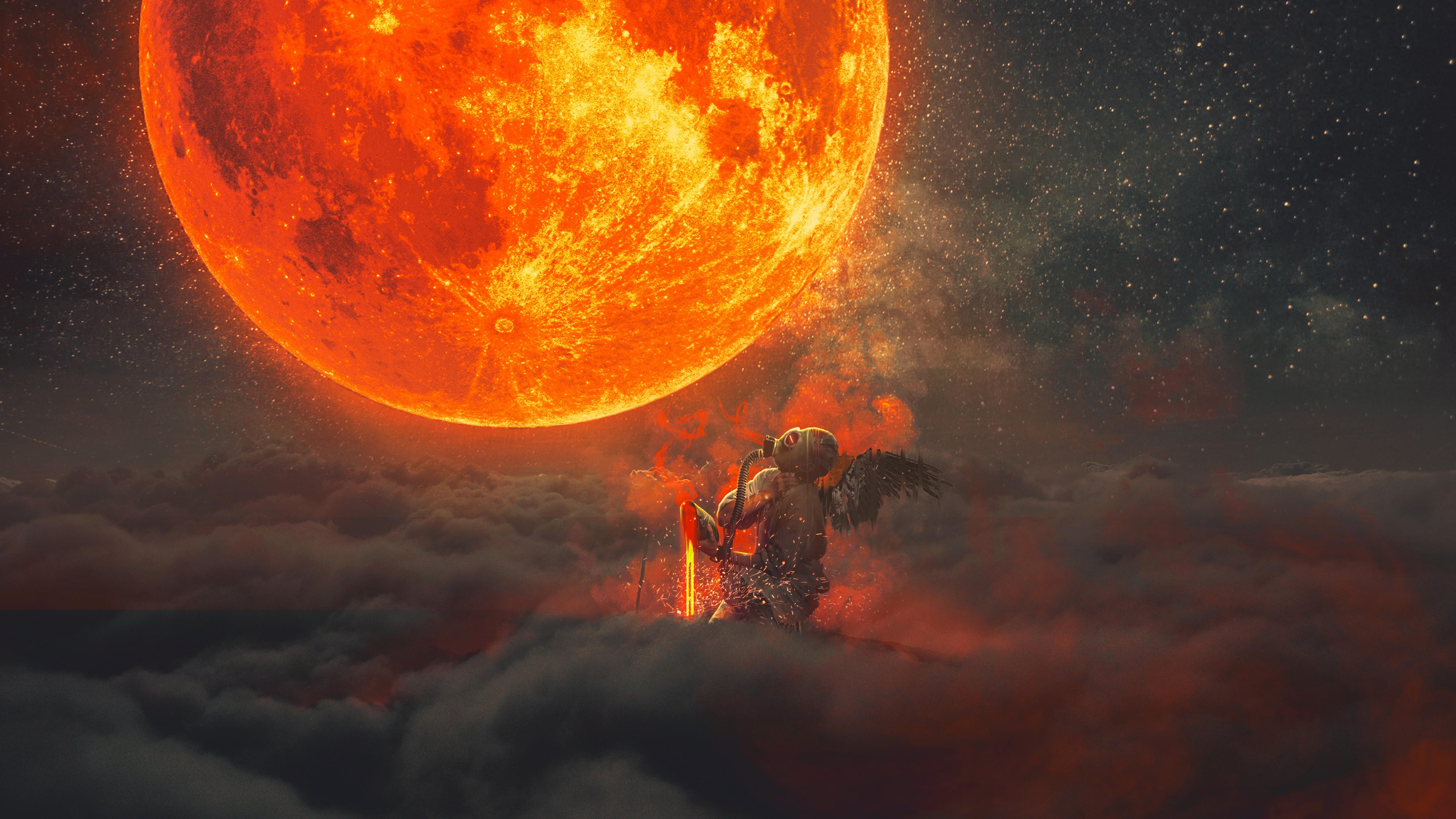 demon, Sun, Moon, clouds, fantasy art