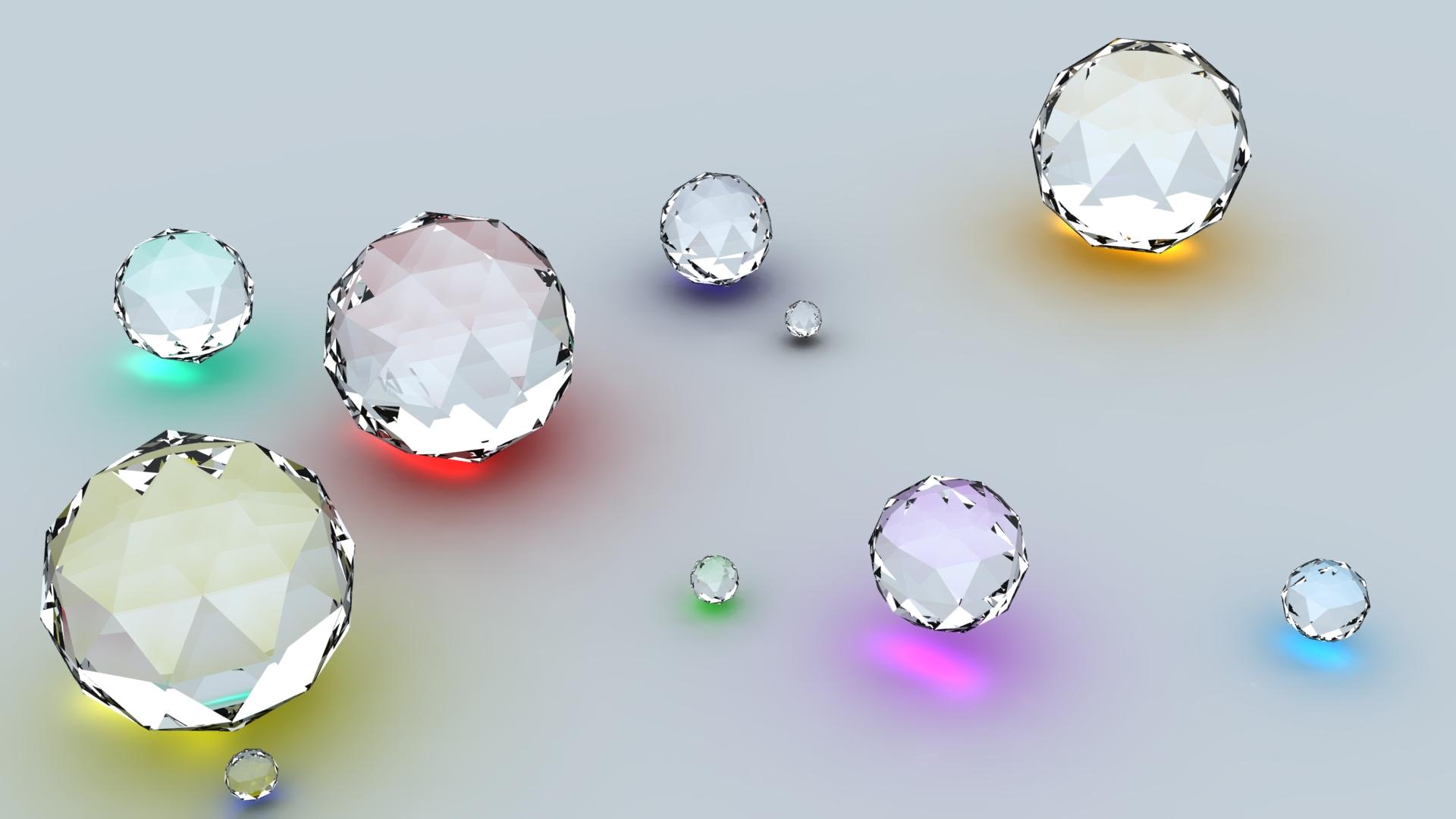 Wallpaper Diamonds Shape Reflection Surface 1920x1080