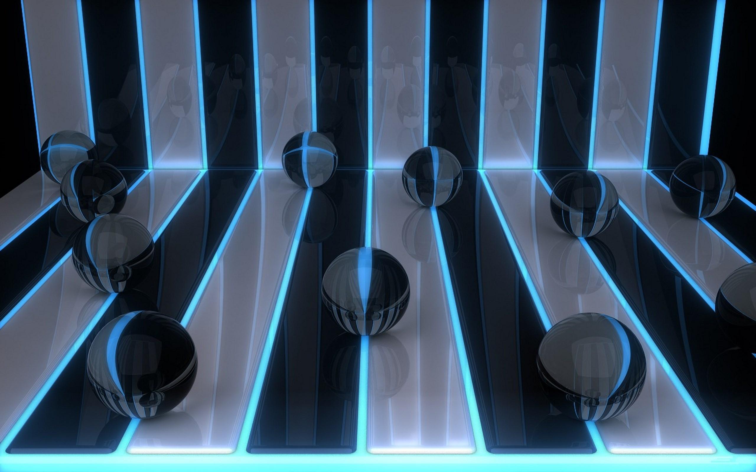 Wallpaper Seni Digital 3D Biru Lingkaran Bola Cahaya