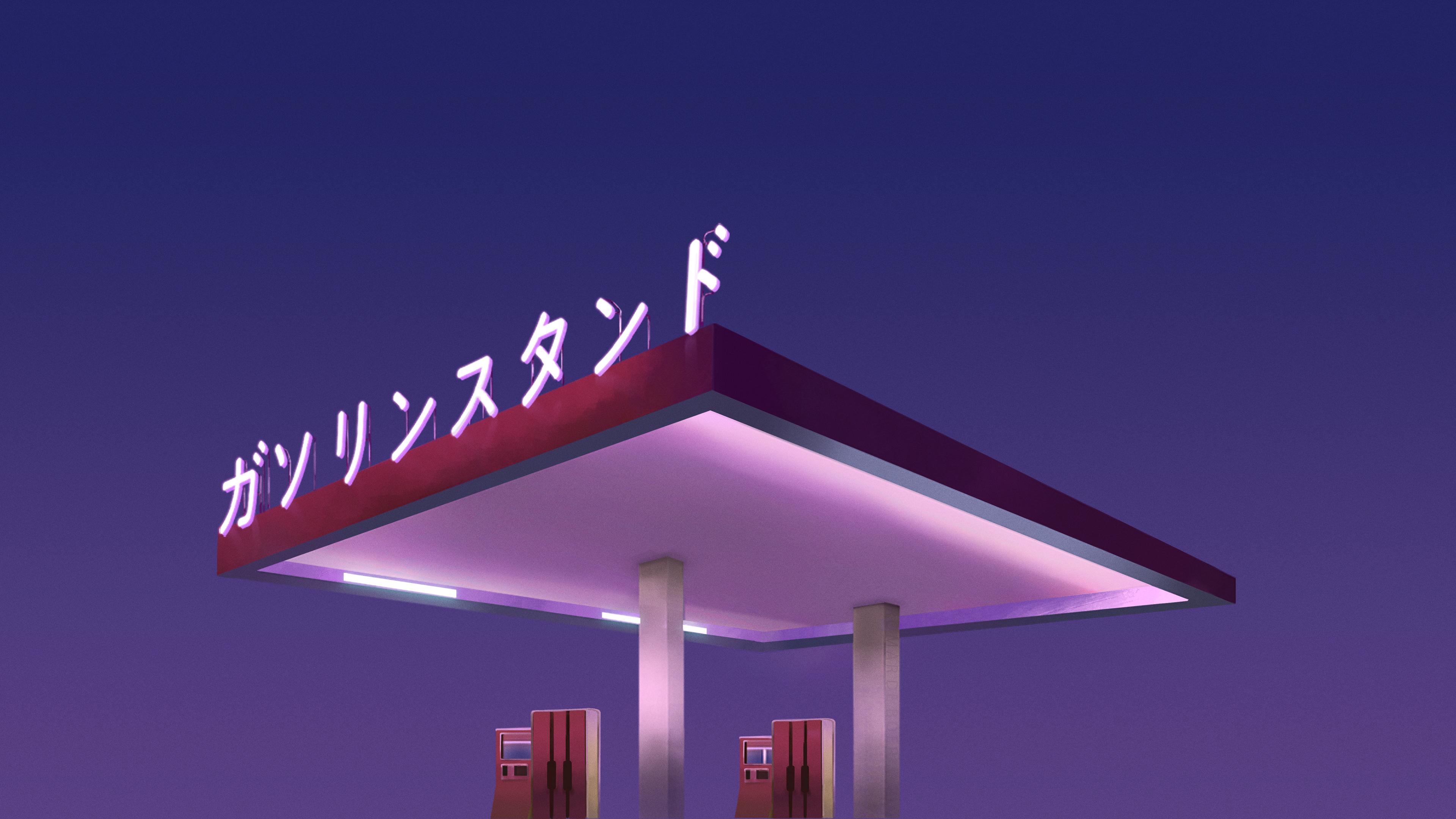 Wallpaper Seni Digital Gas Station Jepang Belanda Biru 3840x2160 Starbeat 1662151 Hd Wallpapers Wallhere