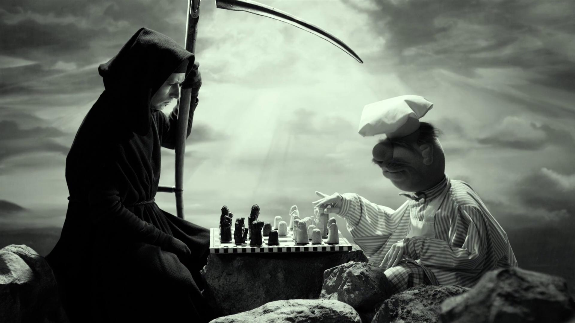 digital art Grim Reaper death dark scythe monochrome chess board games rock sunlight clouds cook hoods