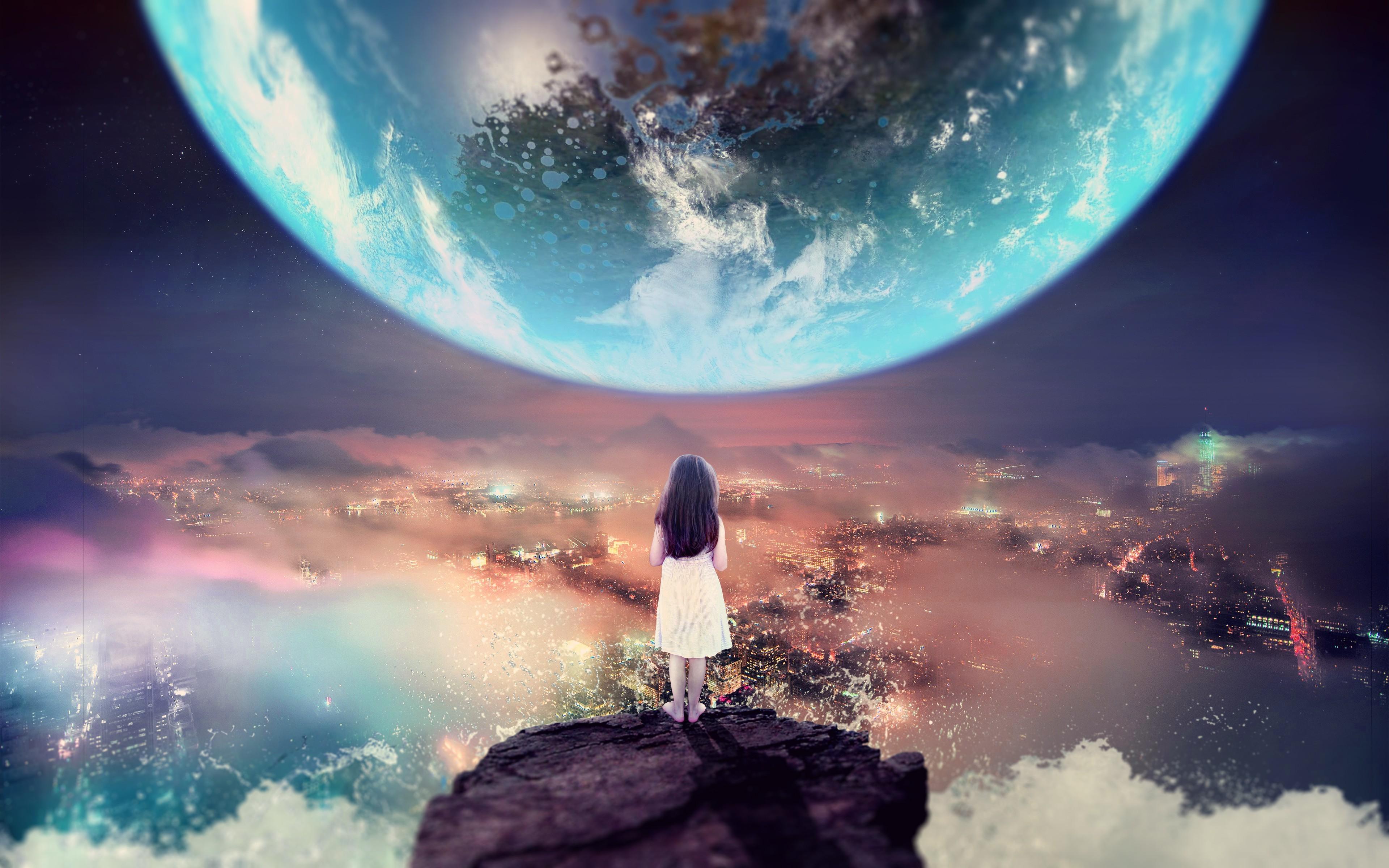Earth Digital Art Hd Wallpaper: Wallpaper : Digital Art, Sea, City, Night, Children