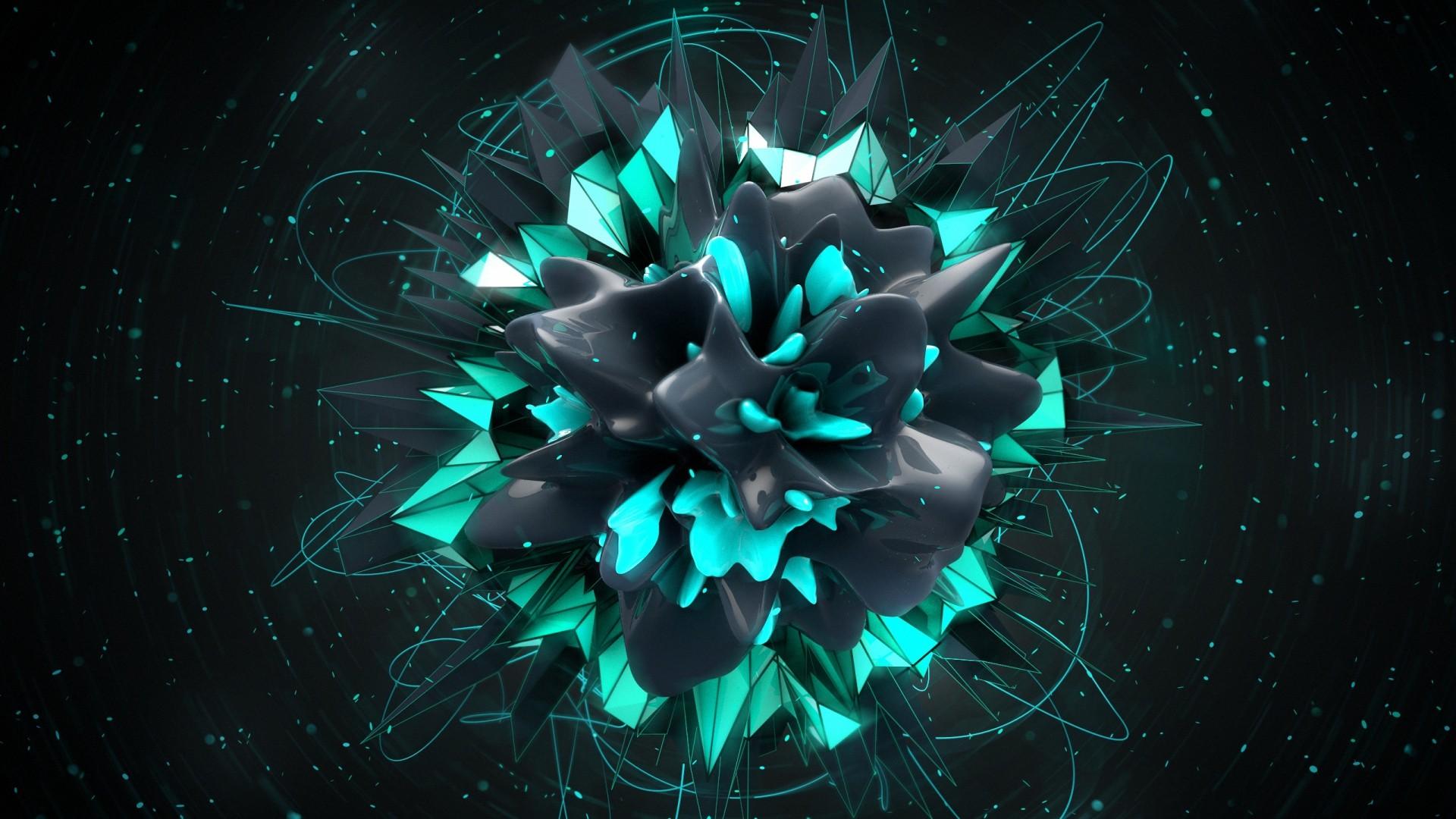 wallpaper : digital art, abstract, 3d, space, symmetry, green