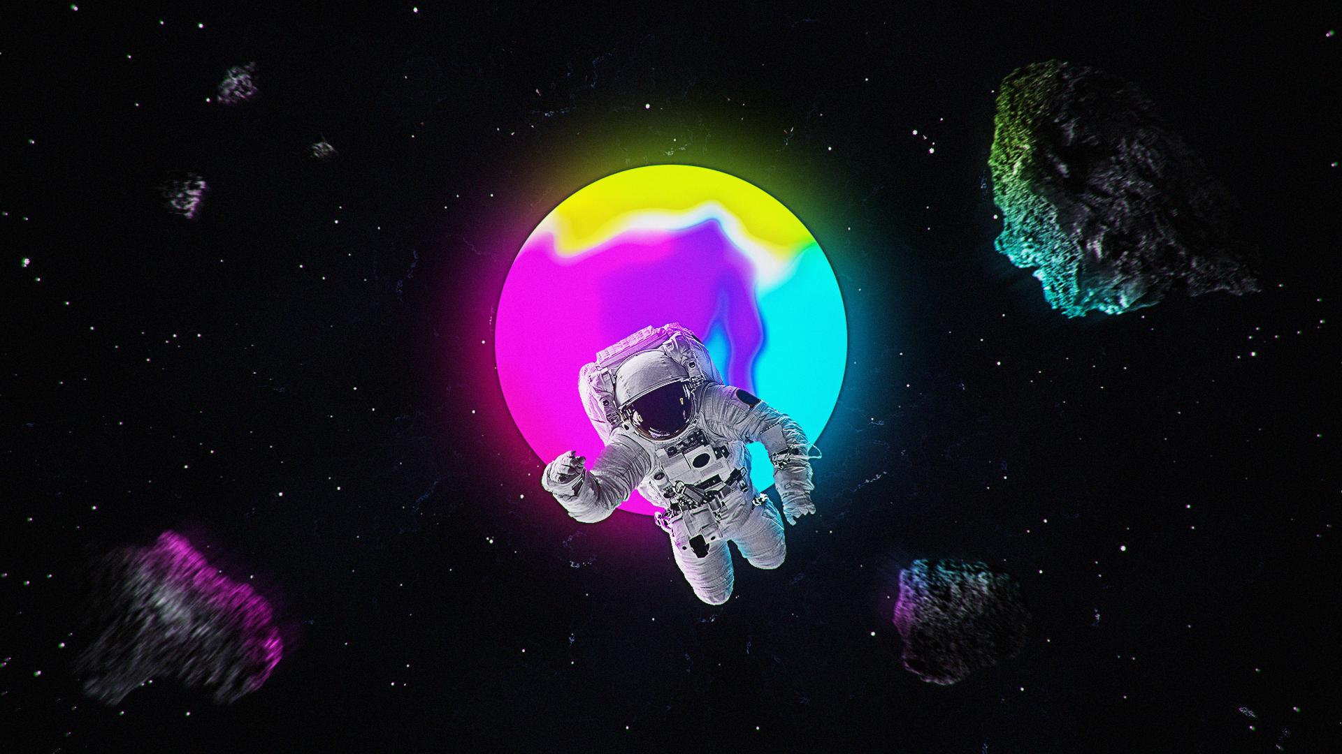 Wallpaper Digital Art Abstract Gradient Astronaut Galaxy