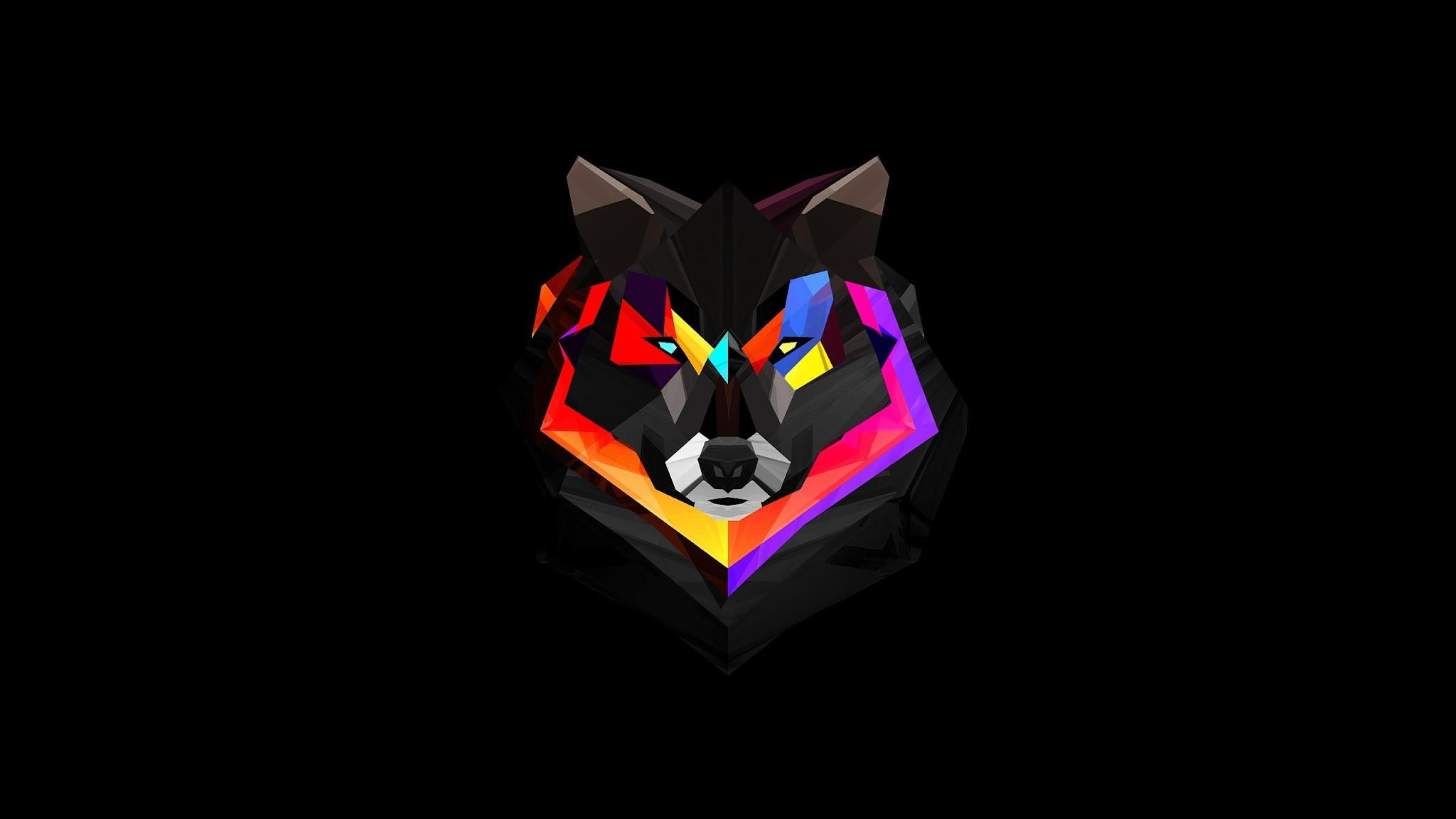Lobo fondo negro
