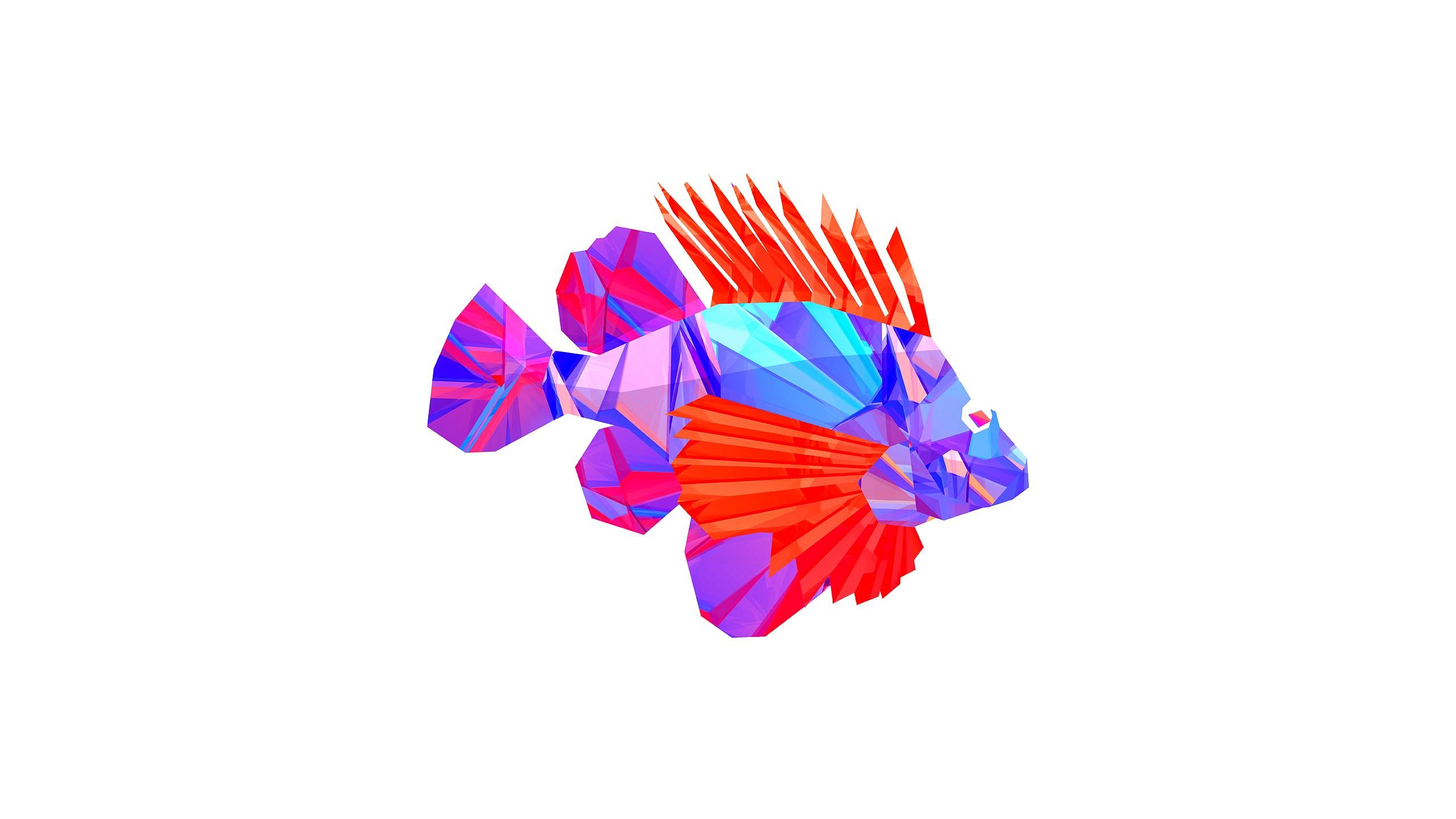 Digital Art Animals Fish Facets Justin Maller Flower Petal