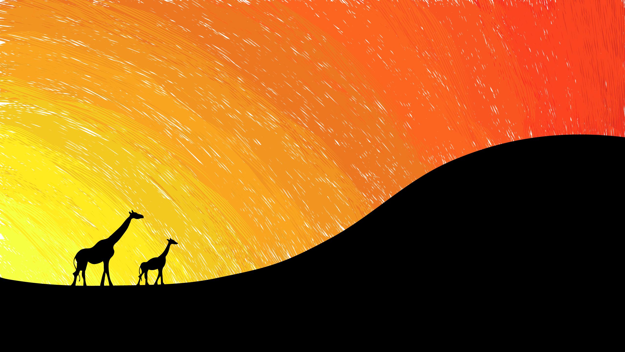 digital art animals sunset minimalism silhouette giraffes yellow hills orange baby animals wave line computer wallpaper geological phenomenon 124767