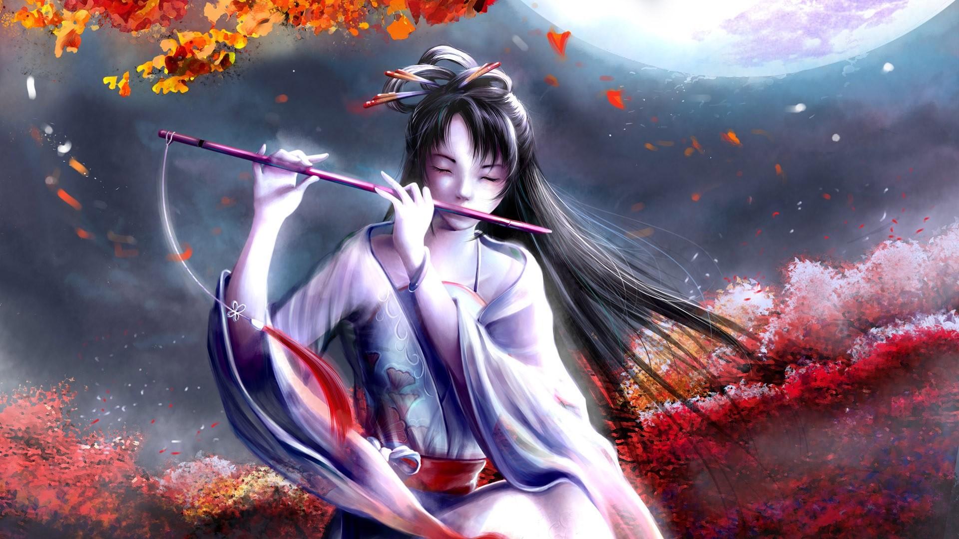 Wallpaper Seni Digital Anime Jepang Seruling Screenshot