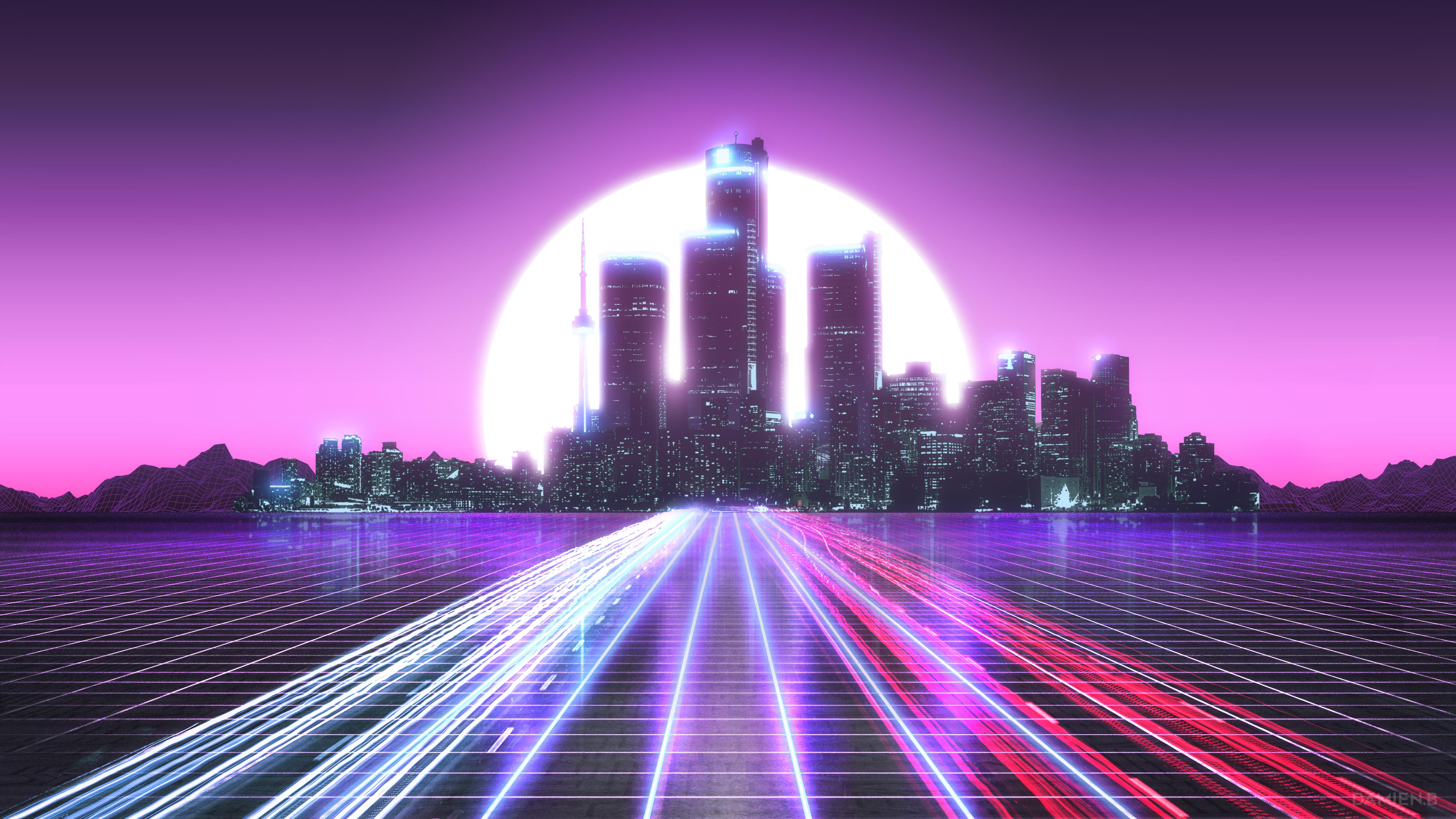Wallpaper Digital Art Artwork Illustration Vaporwave Retrowave Synthwave Lines Neon Lights City Lights Landscape Sunlight Sun Cityscape Skyscraper Tower Architecture Building Urban Purple Red Blue Skyline Cyber 5120x2880