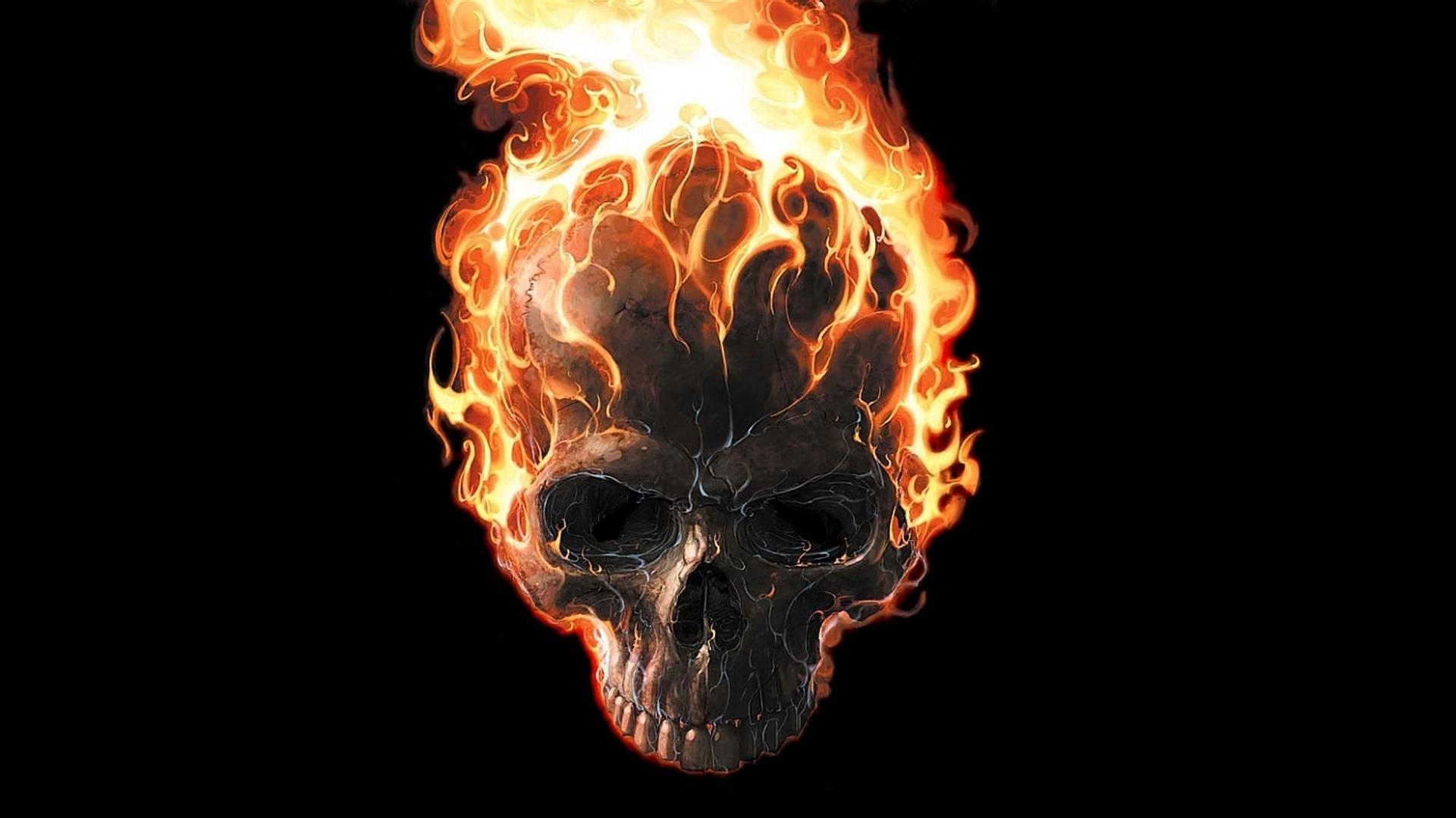 Digital Art Black Background Minimalism Movie Poster Fire Marvel Comics Skull Teeth Ghost Rider Burning