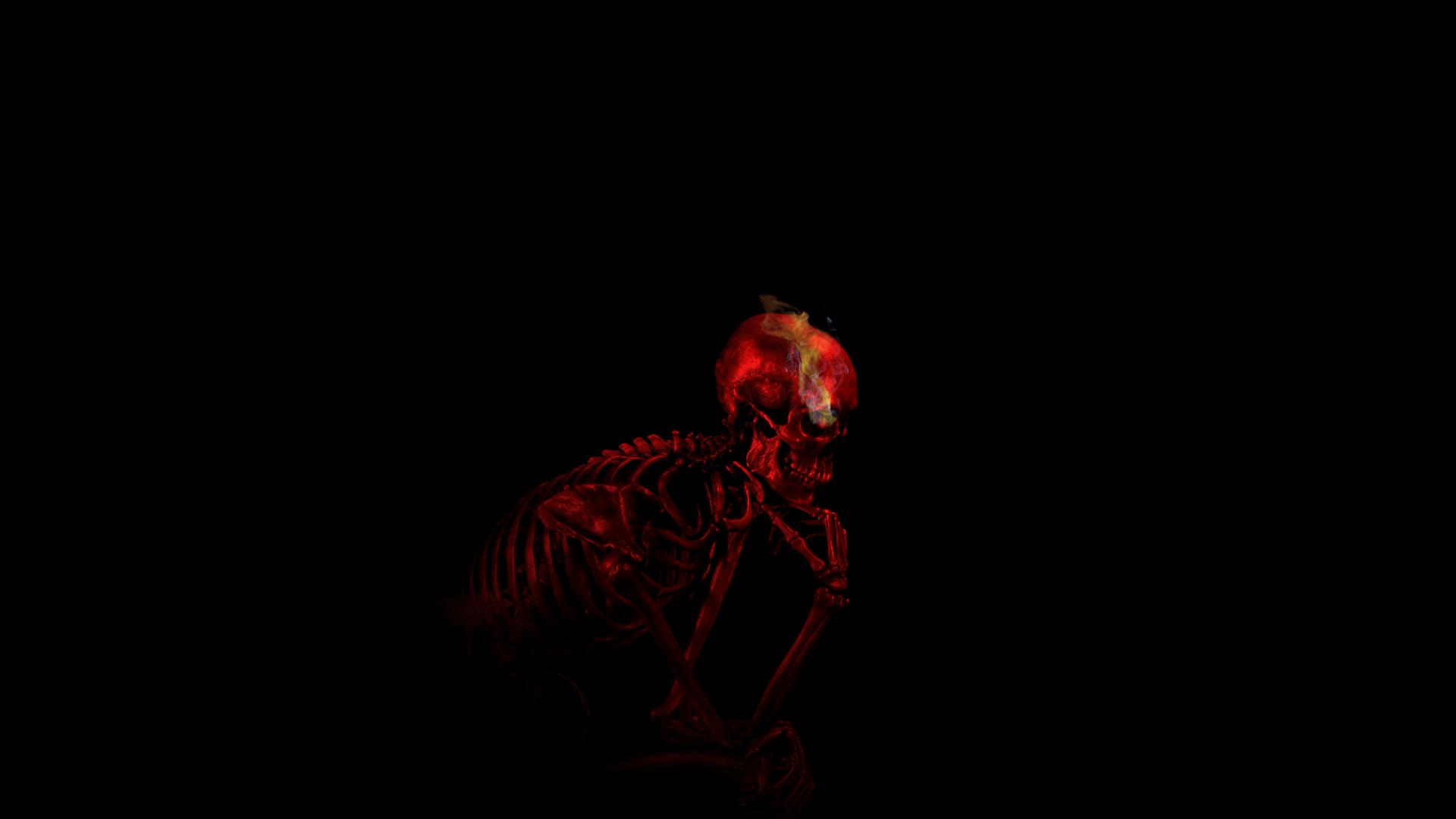 Digital Art Black Background Minimalism Red Smoke Bones Skull Teeth Imagination Skeleton Thinking Ribs Auguste Rodin