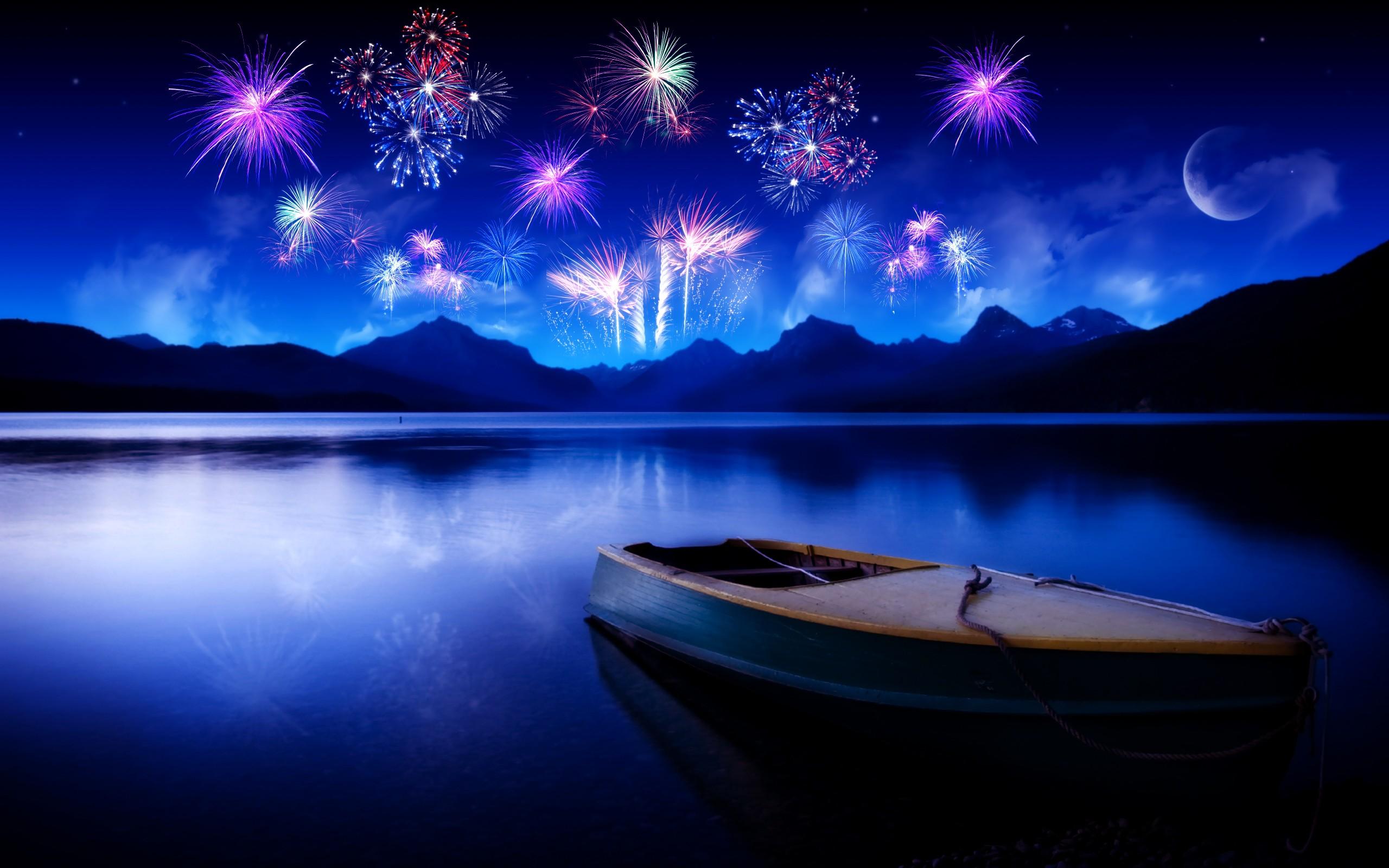 digital art boat night lake reflection fireworks hills moonlight new year screenshot computer wallpaper