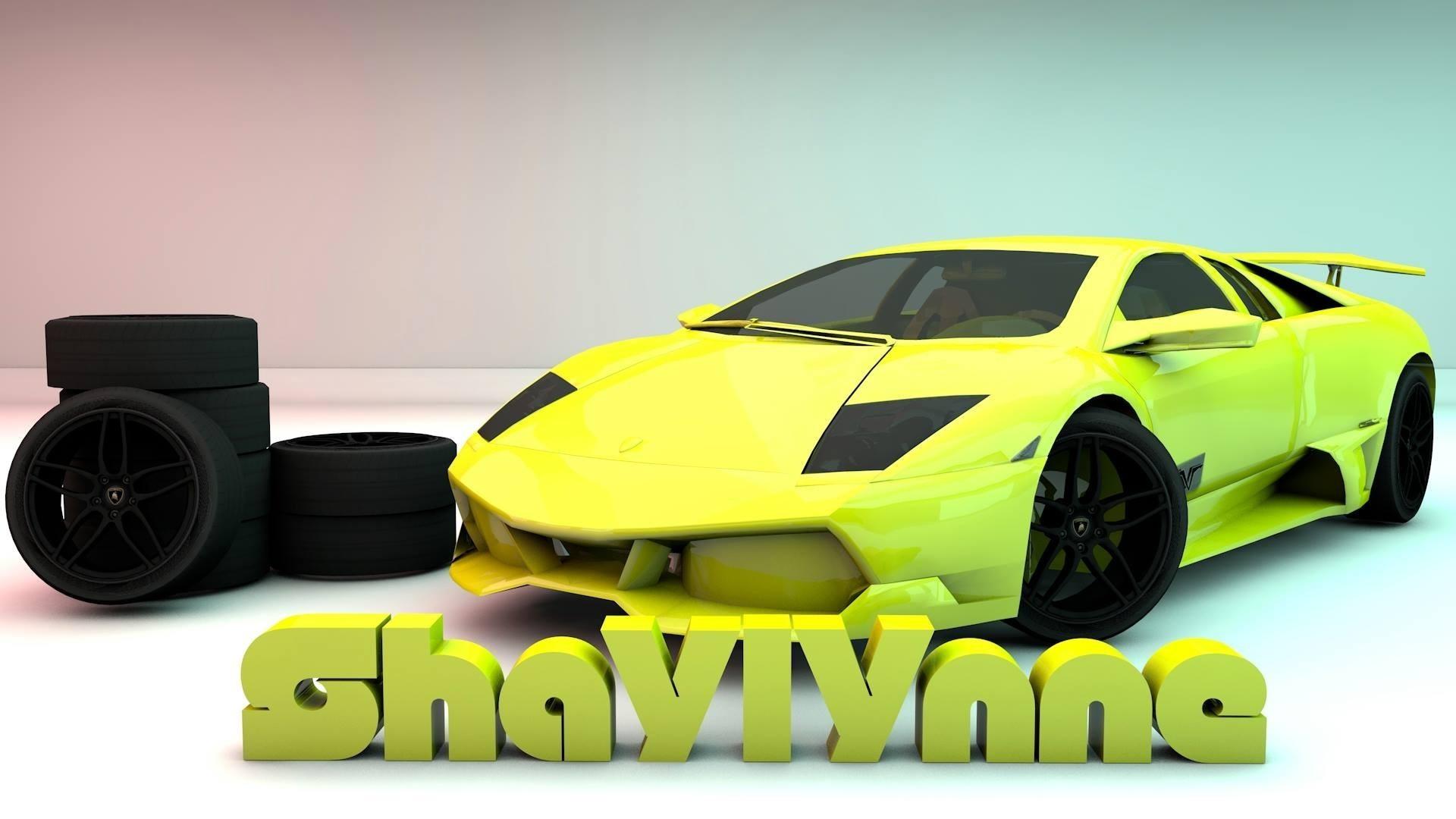 Wallpaper : digital art, yellow, Lamborghini Aventador, technology ...