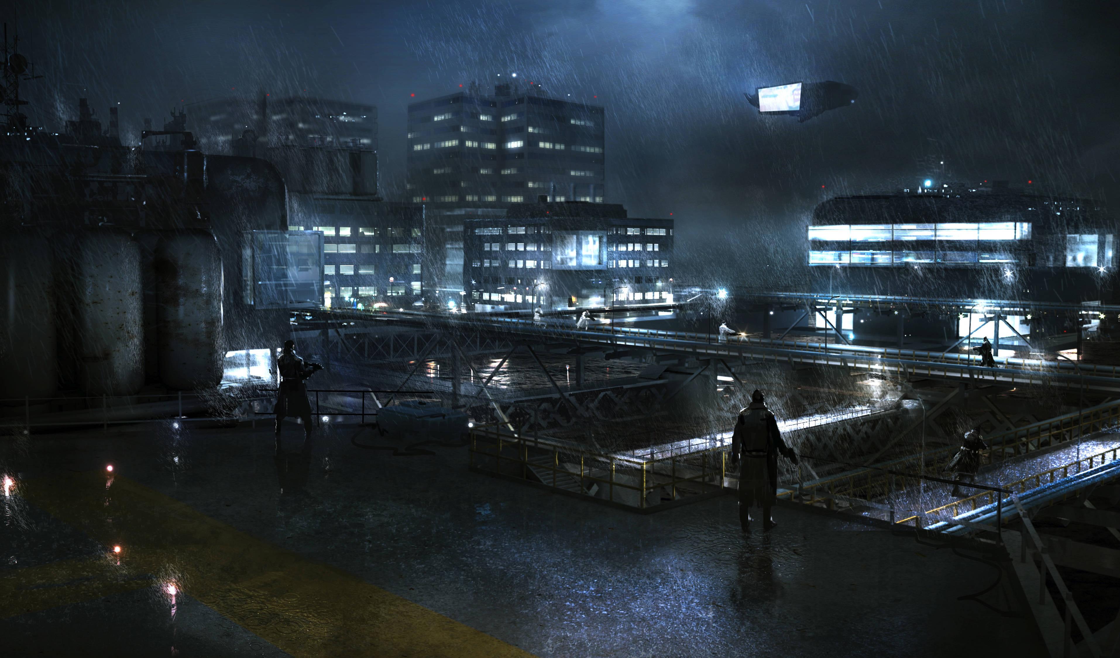 Wallpaper Digital Art City Cityscape Night Cyberpunk