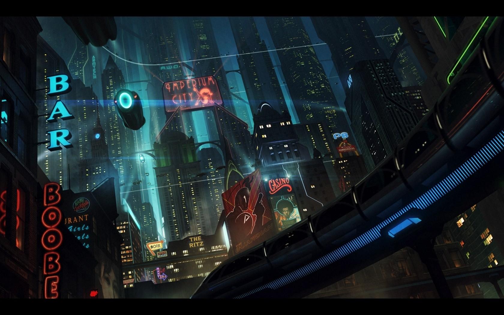 デスクトップ壁紙 デジタルアート 都市景観 未来都市 真夜中 闇