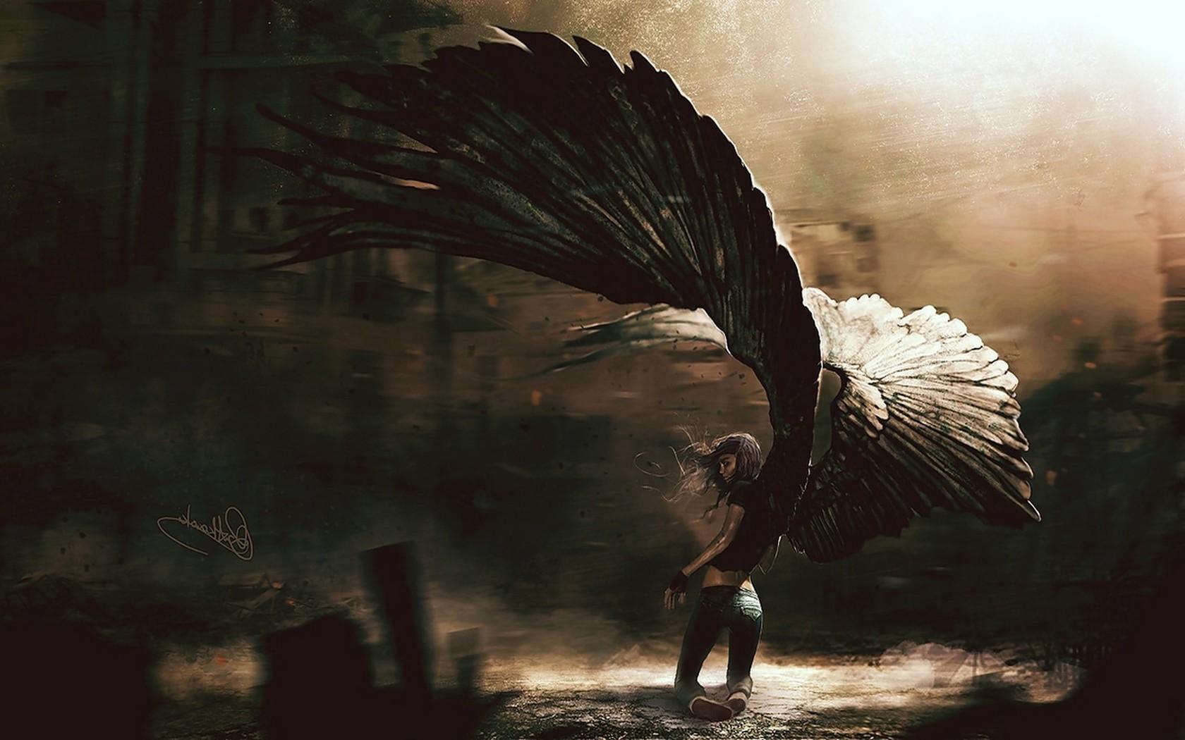 Wallpaper Digital Art Fantasy Art Dark Wings Angel Jeans