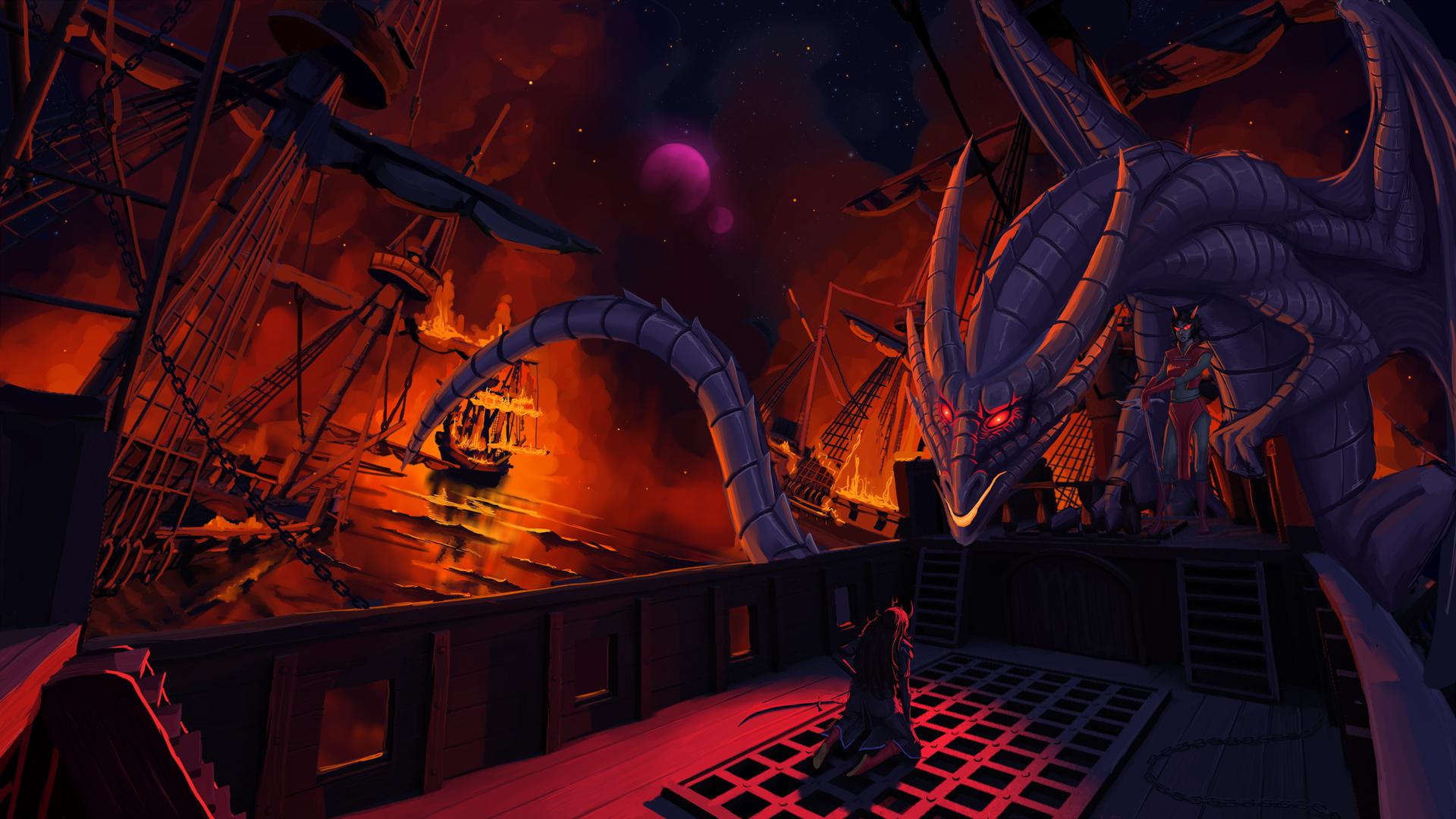 Wallpaper Digital Art Fantasy Art Dragon Sailing Ship Red Eyes