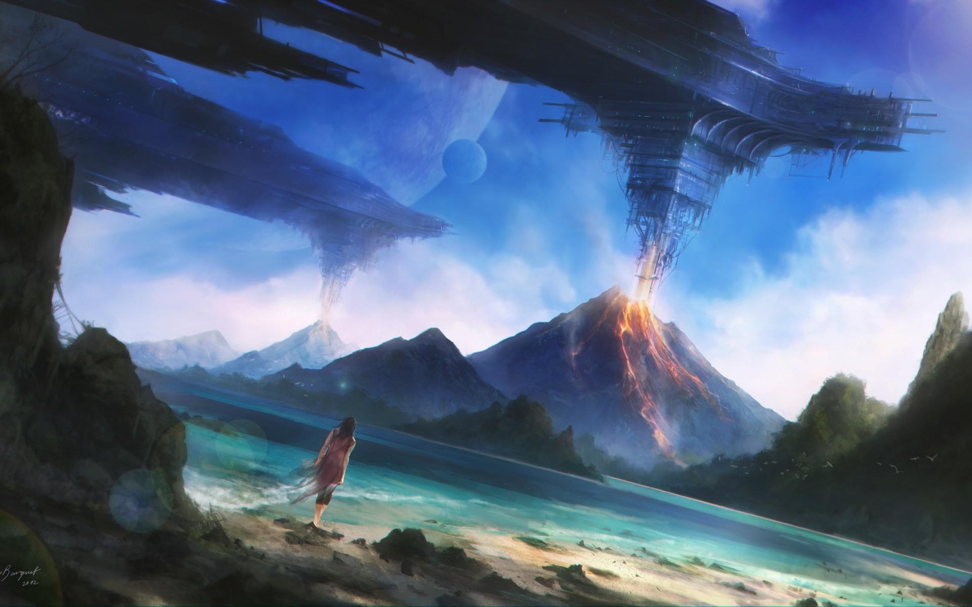 Fantasy Art Landscape Volcano