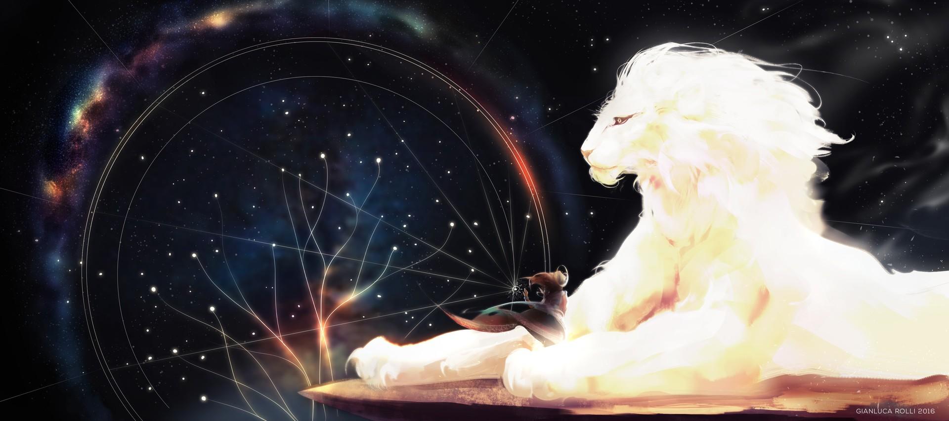 Wallpaper Digital Art Fantasy Art Space Lion Screenshot Special Effects 1920x853 Kejsirajbek 738 Hd Wallpapers Wallhere