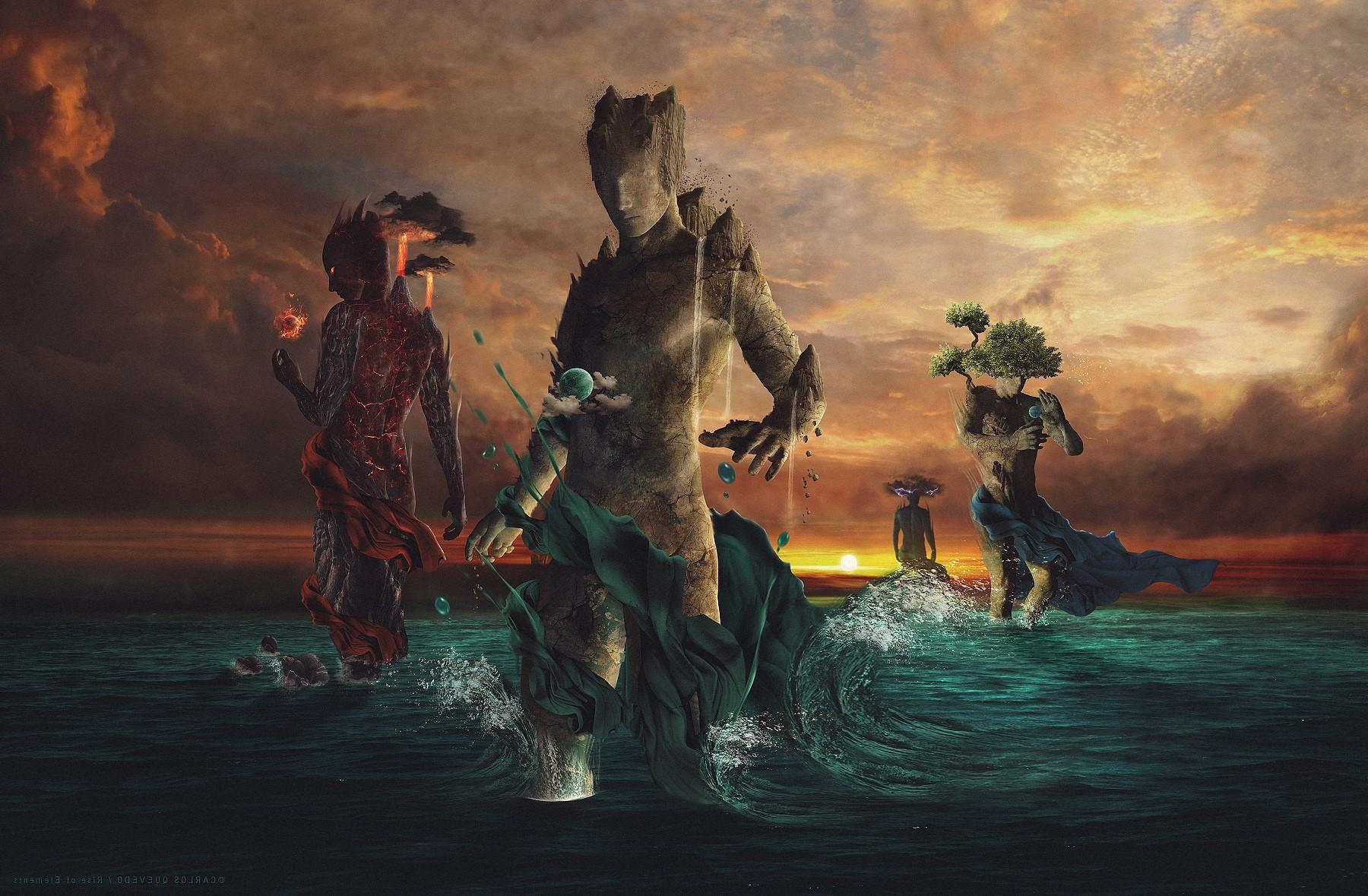Wallpaper digital art fantasy art sunset water earth - Fantasy wallpaper digital art ...