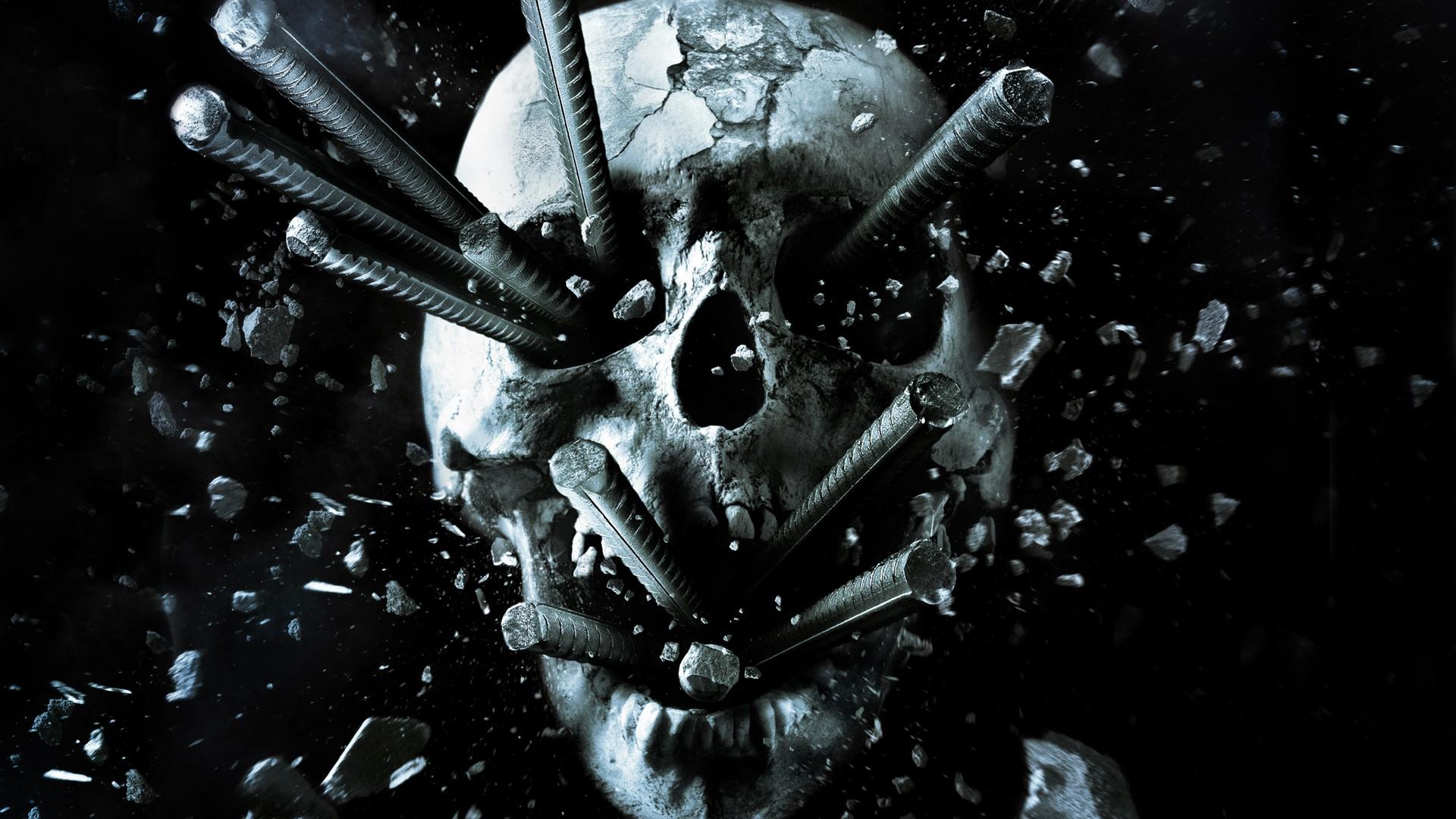 Digital Art Monochrome Black Background Dark Movies Metal Skull Broken Shrapnel Final Destination Darkness Screenshot Computer