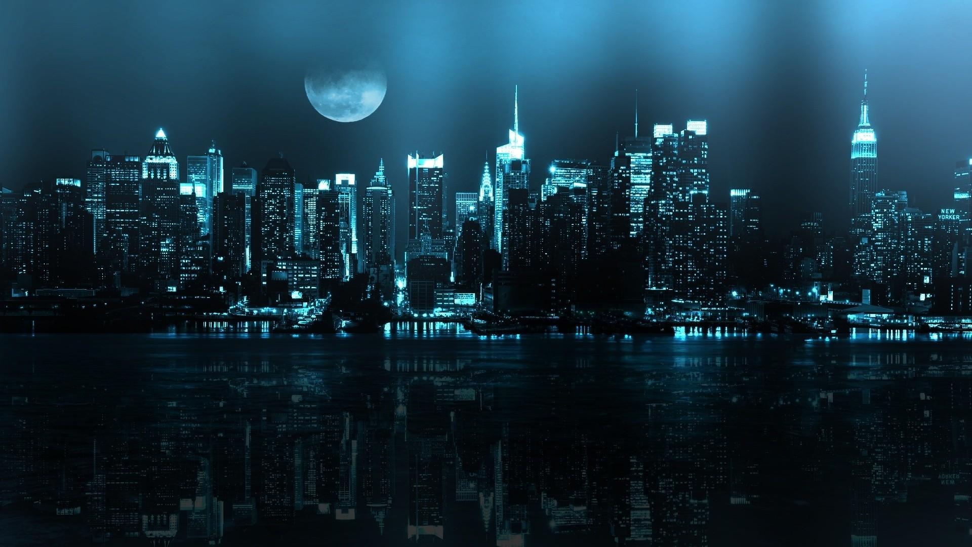 Wallpaper Digital Art Dark City Cityscape Night Reflection Moon Skyline Skyscraper New York City Horizon Dusk Metropolis Darkness Computer Wallpaper Atmosphere Of Earth Black And White Monochrome Photography Human Settlement 1920x1080