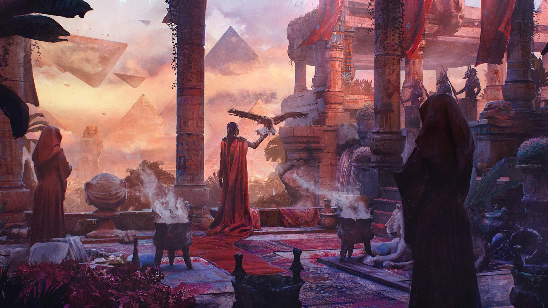 Masaustu Dijital Sanat Boyama Resim Eski Misir Piramit