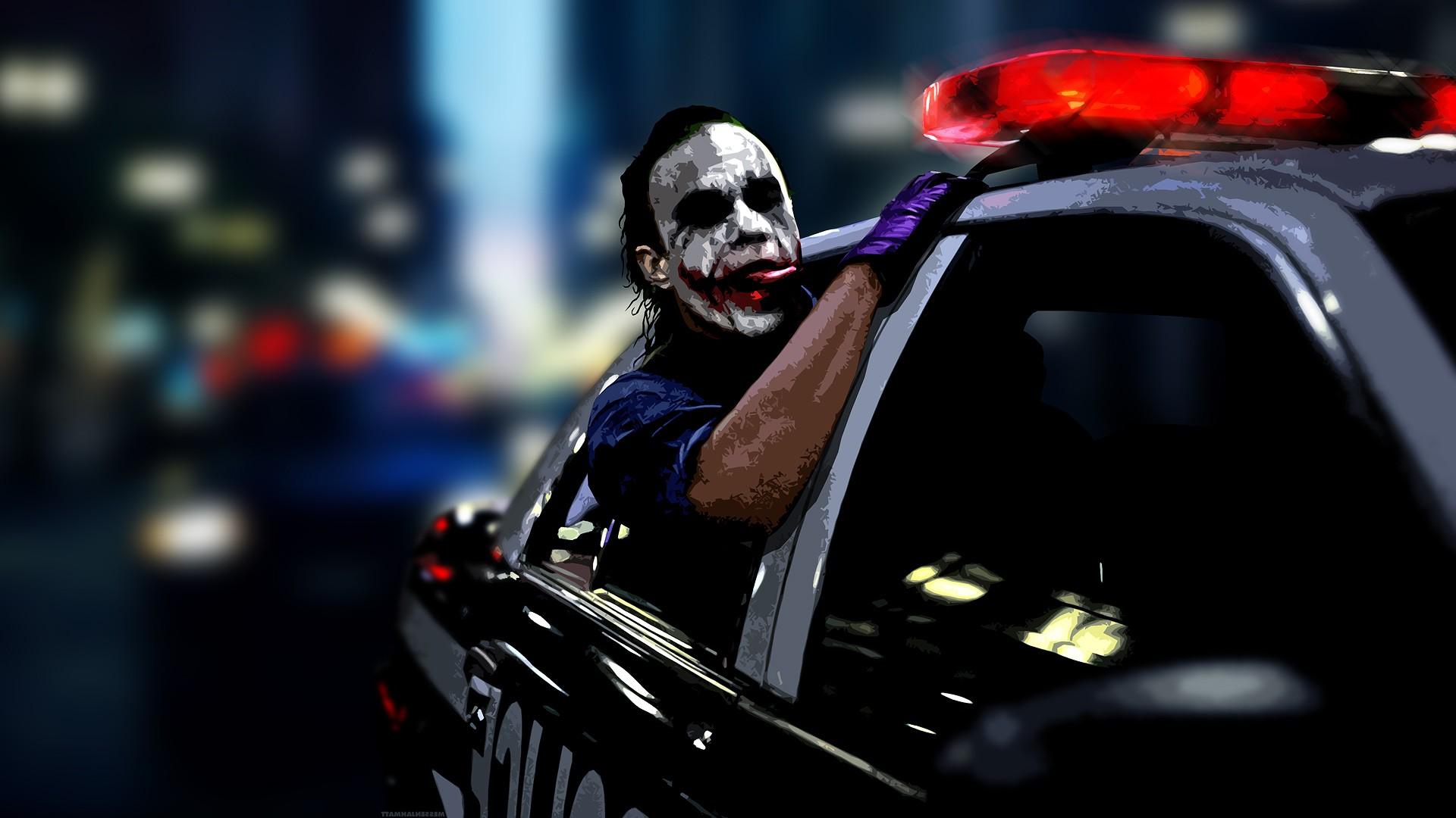Digital Art Police Anime Car Vehicle Batman Joker Heath Ledger MessenjahMatt Darkness 1920x1080 Px Automotive Design
