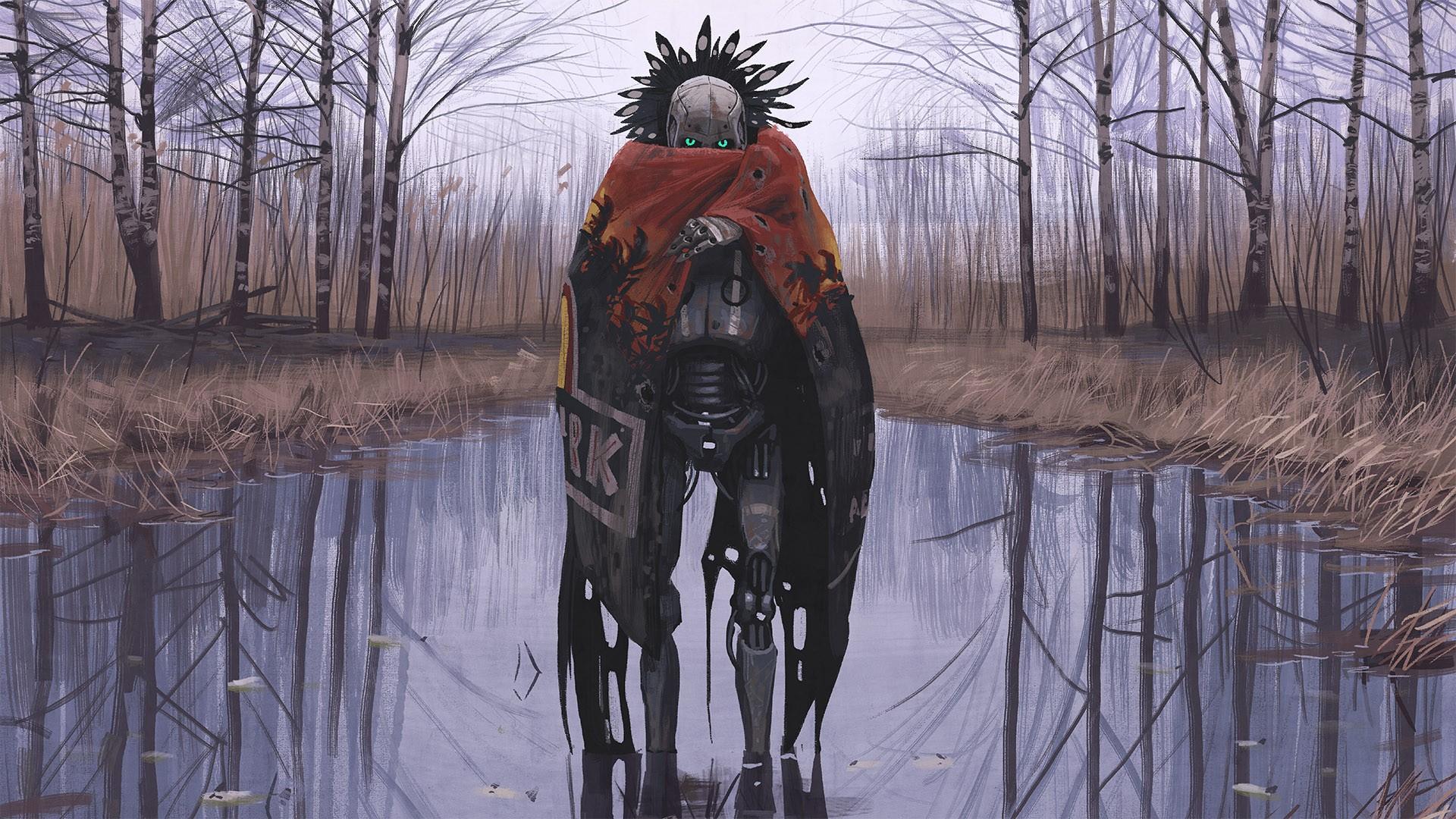 デスクトップ壁紙 デジタルアート ロボット 冬 アートワーク