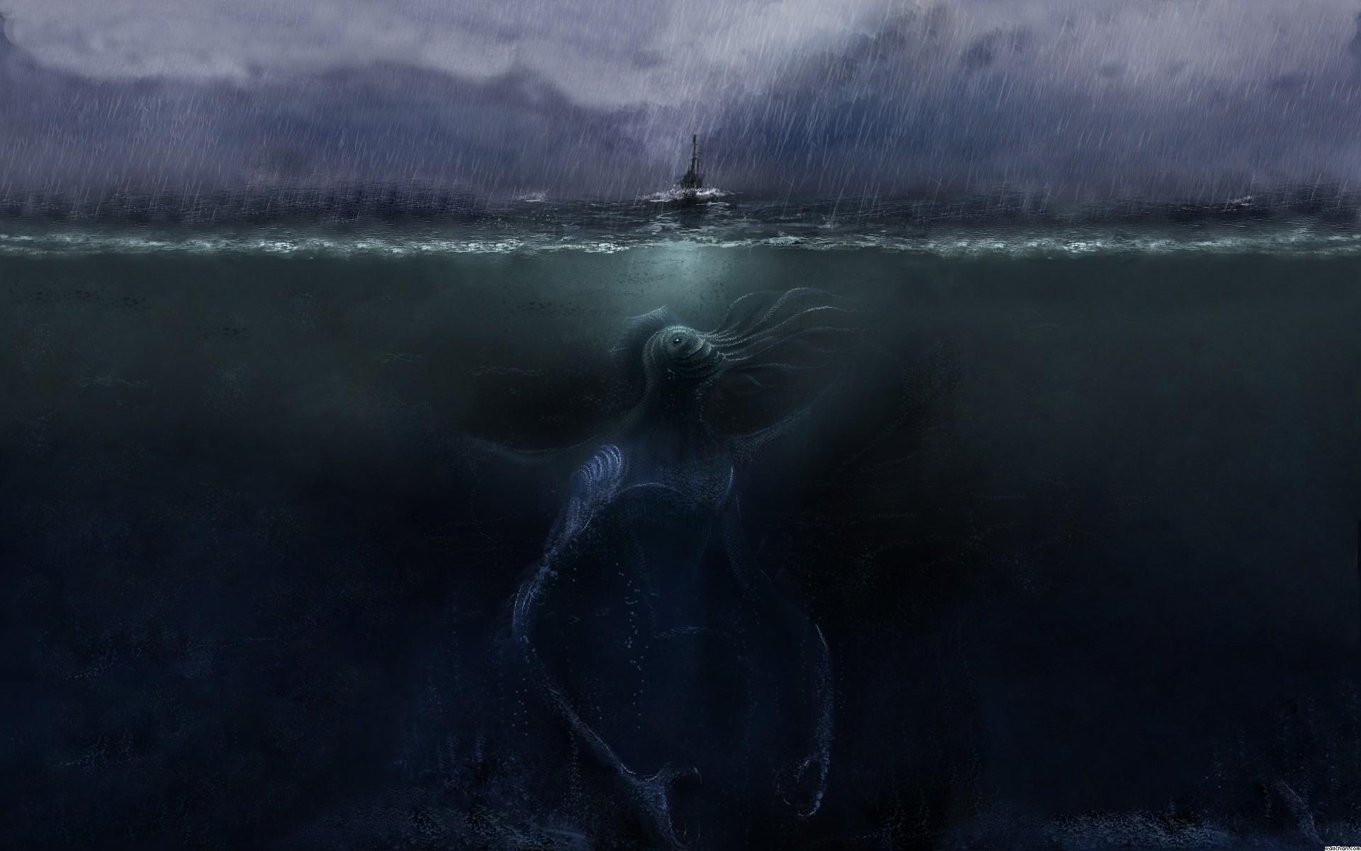 Wallpaper Digital Art Sea Monsters Water Reflection