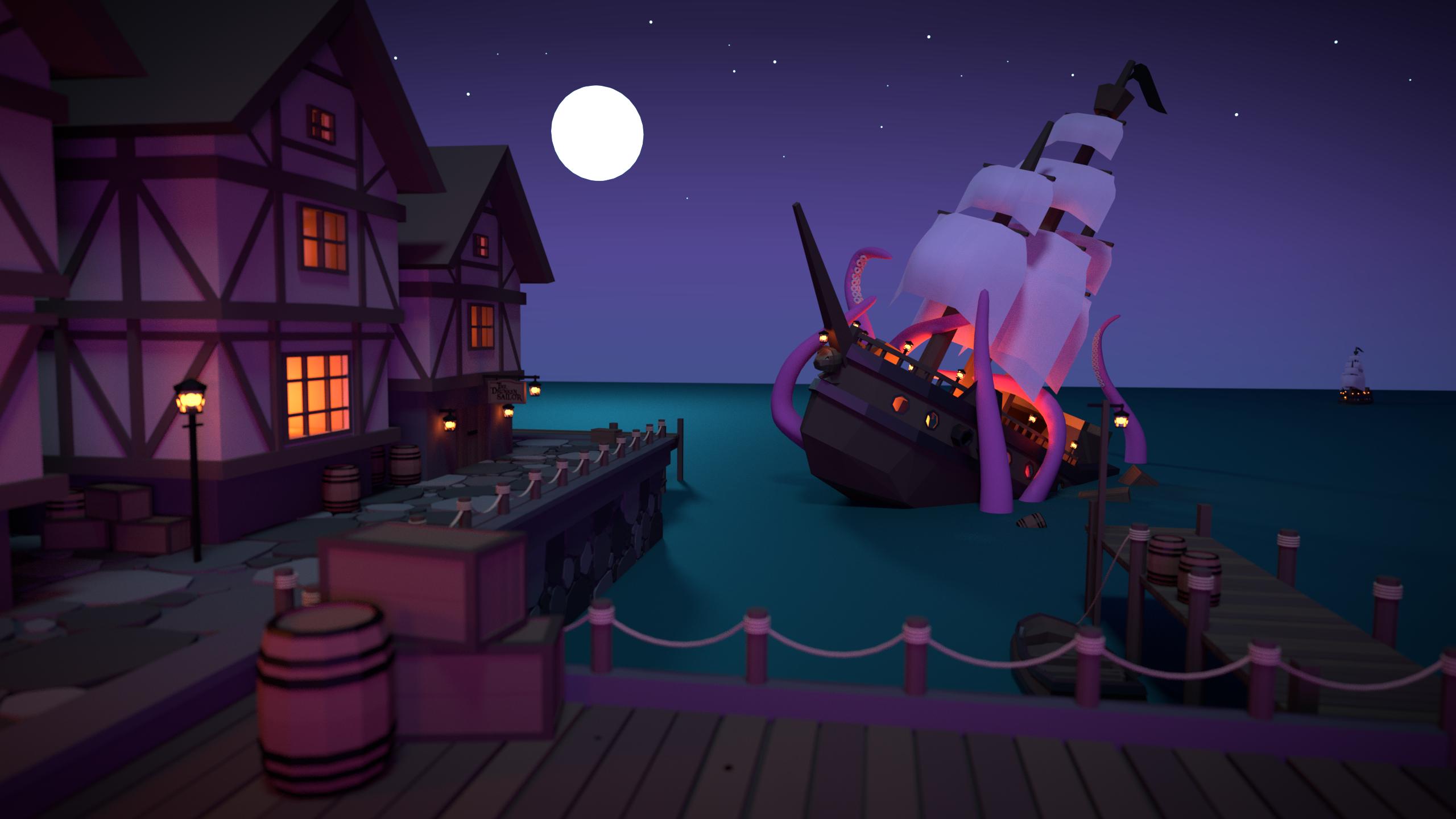 Wallpaper Digital Art Sailing Ship Sea Monsters Tentacles