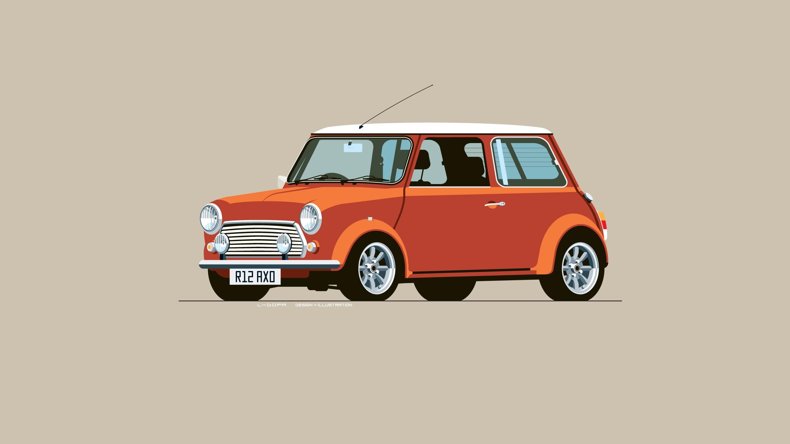 Wallpaper Digital Art Simple Background Minimalism Red Cars