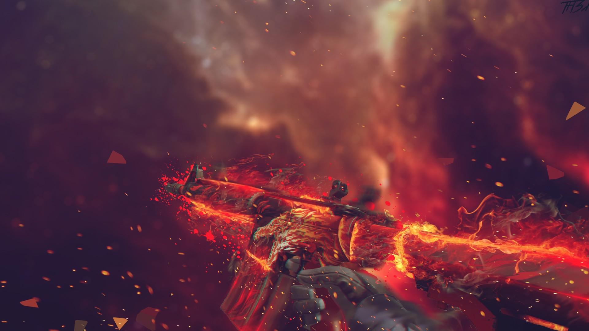Wallpaper Digital Art Weapon Artwork Fire Nebula Counter