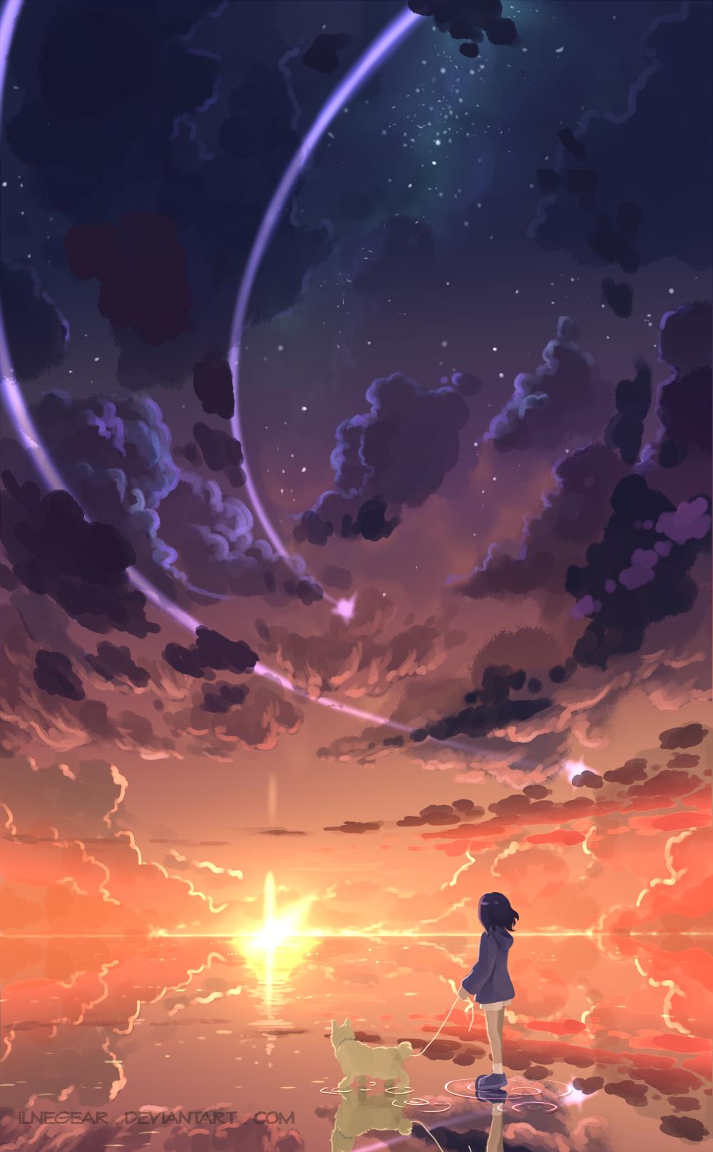 Wallpaper Digital Art Sunset Meteors Portrait Display