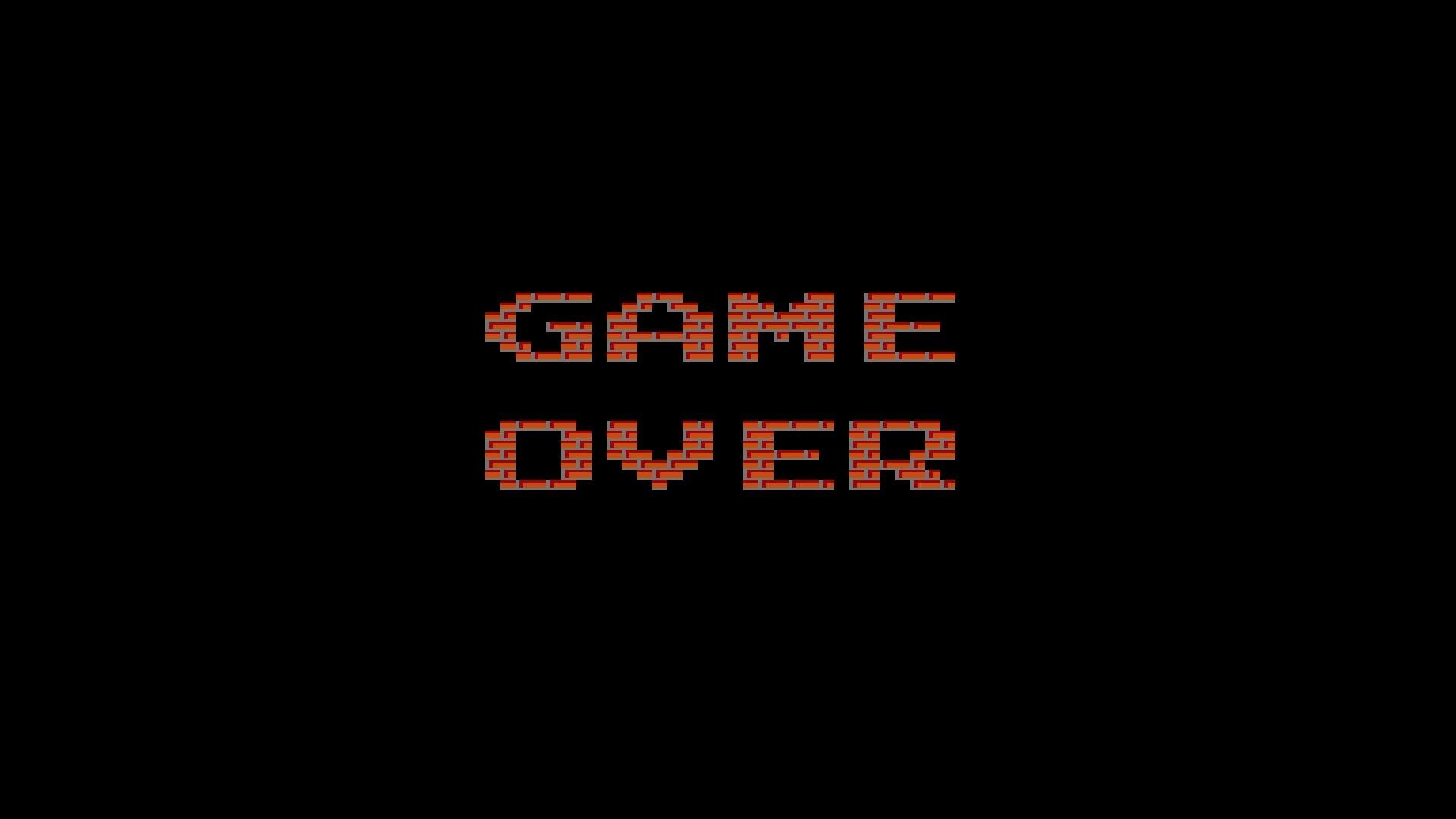 arte digital videogames fundo preto minimalismo Tijolos texto logotipo  Jogos retro píxeis FIM DE JOGO Marca
