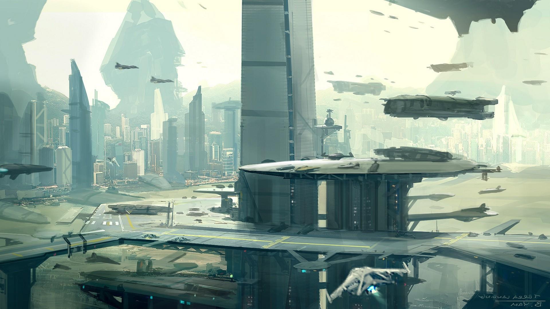 Digital Art Video Games City Cityscape Reflection Futuristic Artwork Skyscraper Concept Star Citizen Spaceship ART
