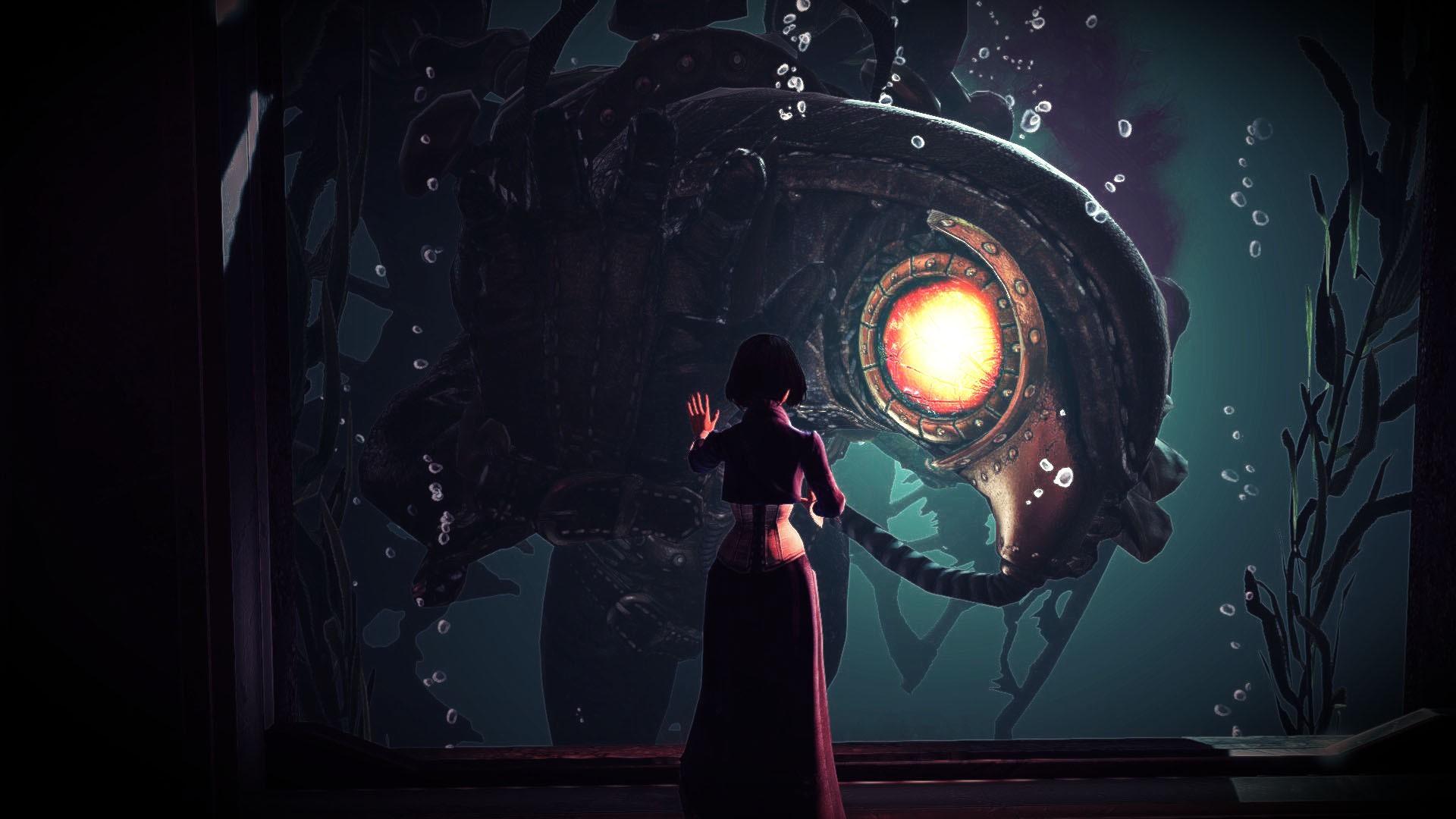 digital art video games night BioShock Infinite Songbird BioShock light darkness screenshot computer wallpaper special effects