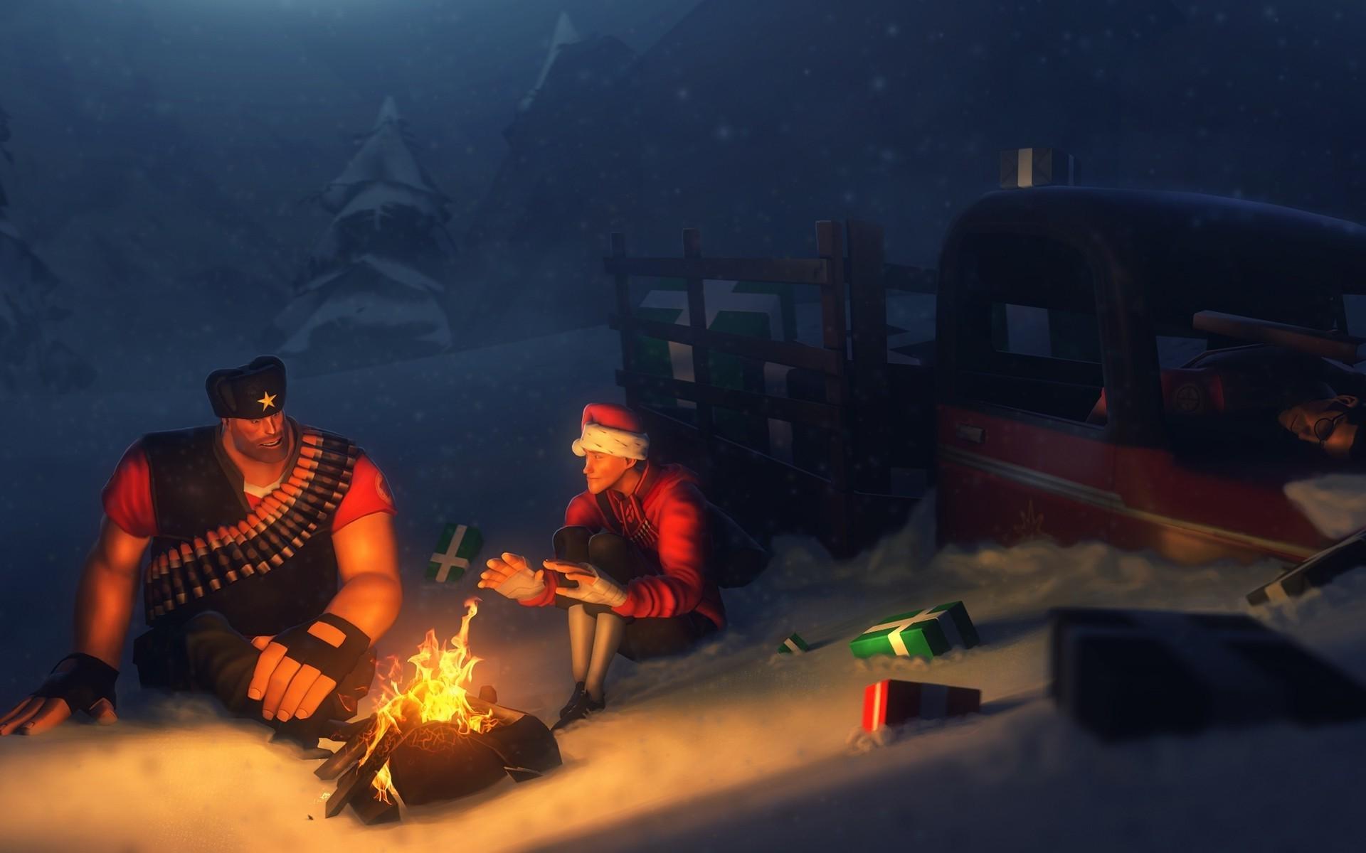 Wallpaper : digital art, video games, snow, fire, presents, Team ...