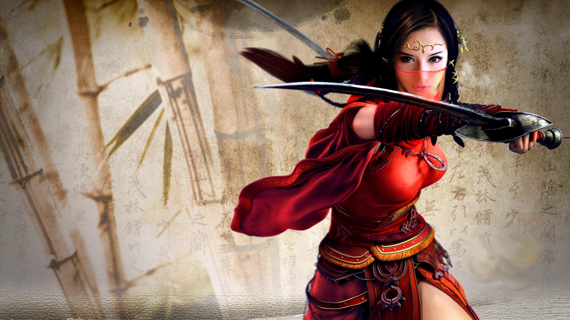 Wallpaper digital art women fantasy art fantasy girl - Girl with sword wallpaper ...
