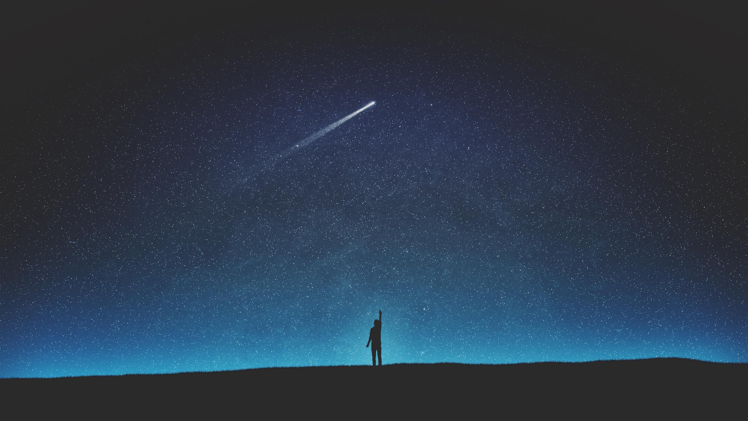 Wallpaper Digital Art Artwork Comet Night Sky Starry Night Skyscape Silhouette Dark Blue Black Looking Up Night View Shooting Stars 2560x1440 Soheibben 1613017 Hd Wallpapers Wallhere