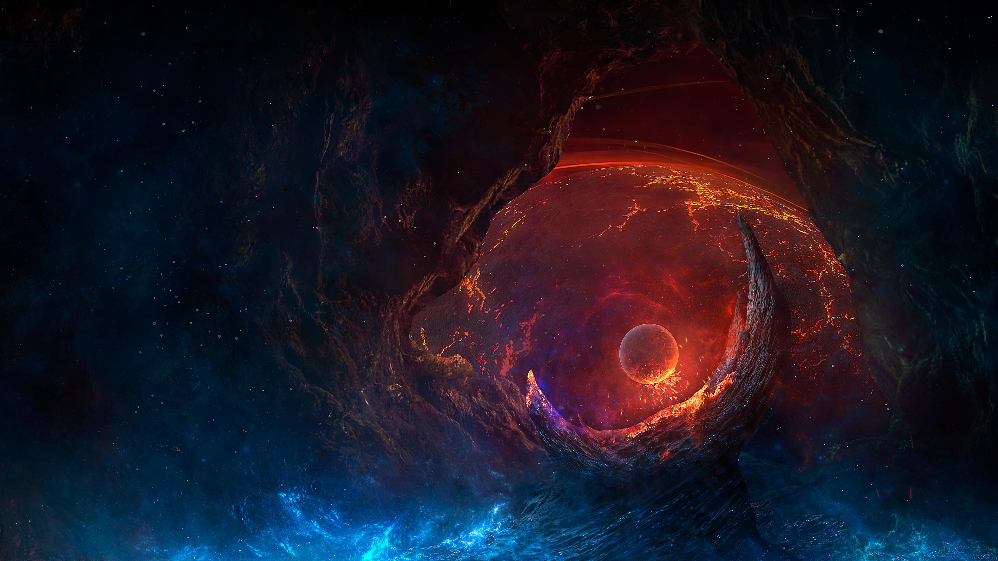 Wallpaper Digital Art Artwork Illustration Fantasy Art Planet Ruin Destruction Galaxy Nebula Fire Spacescapes Space Art World End 3840x2160 Onis 1666233 Hd Wallpapers Wallhere