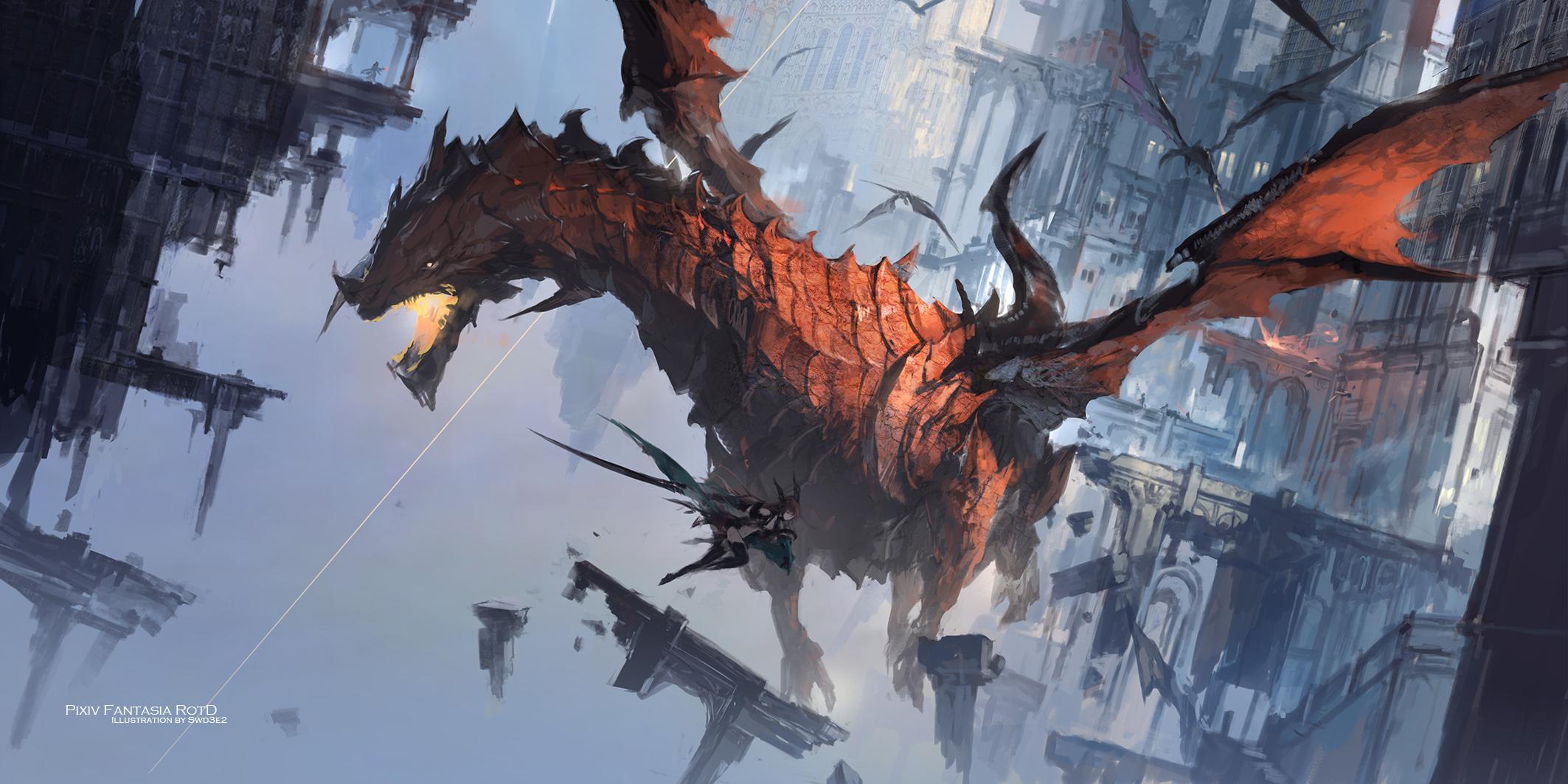デスクトップ壁紙 ドラゴン アニメの女の子 飛行 Pixiv ピクシヴファンタジア 2126x1063 Mohammads デスクトップ壁紙 Wallhere