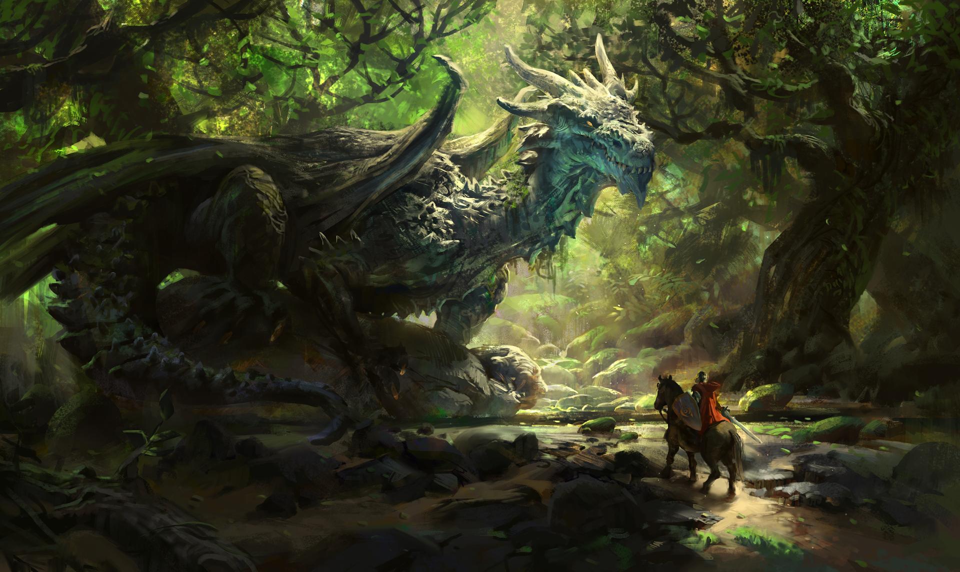 Wallpaper Dragon Horse Nature Warrior Trees Fantasy
