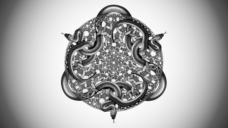デスクトップ壁紙 お絵かき 図 抽象 アートワーク ヘビ 対称 パターン 彫刻 サークル エッシャー オカルト 頭 スケッチ 黒と白 モノクロ写真 27x1530 Ludendorf デスクトップ壁紙 Wallhere