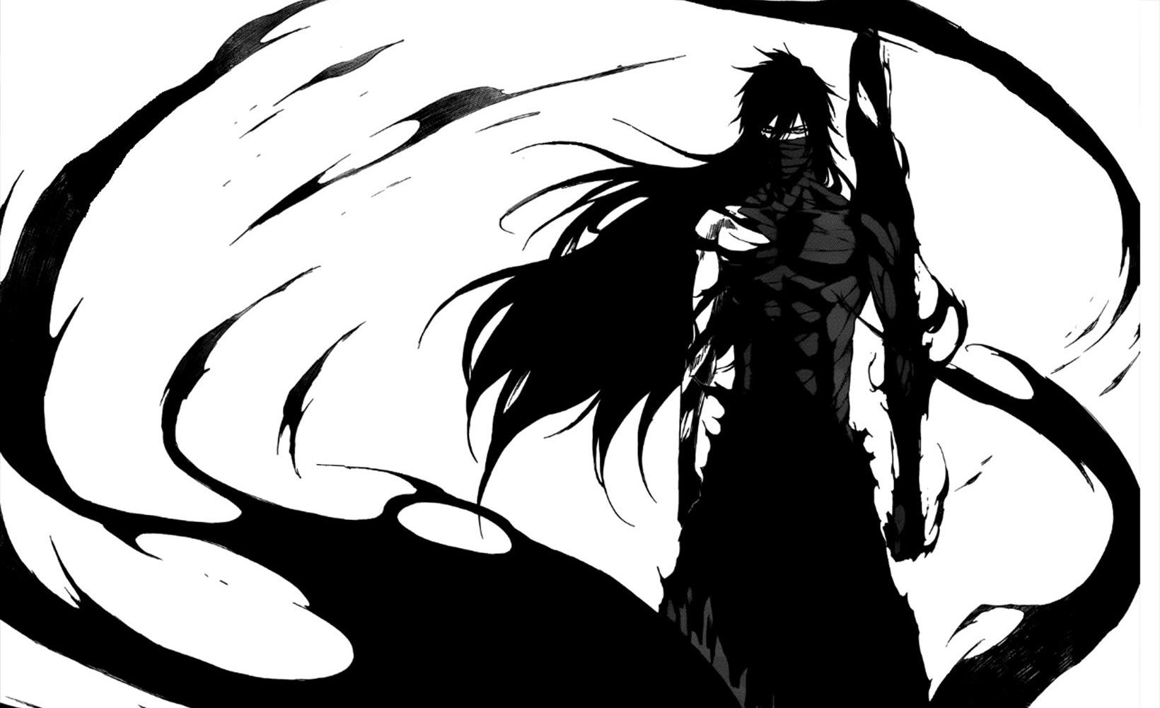Wallpaper Drawing Illustration Anime Silhouette Demon Japanese Art ART Graphics Artworks Black And White Monochrome Photography Vertebrate