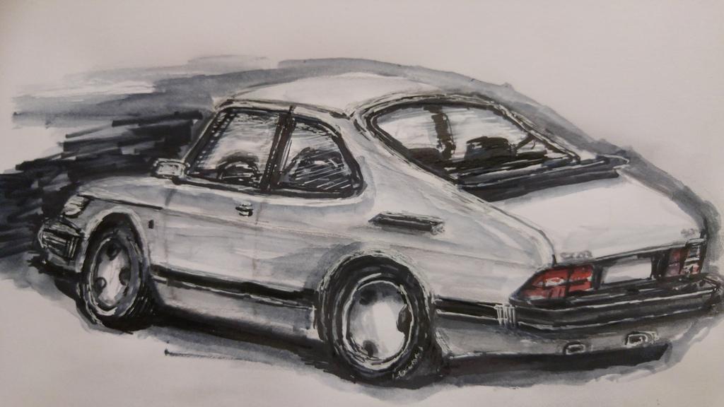 Wallpaper Drawing Saab Swedish Performance Car Sketch