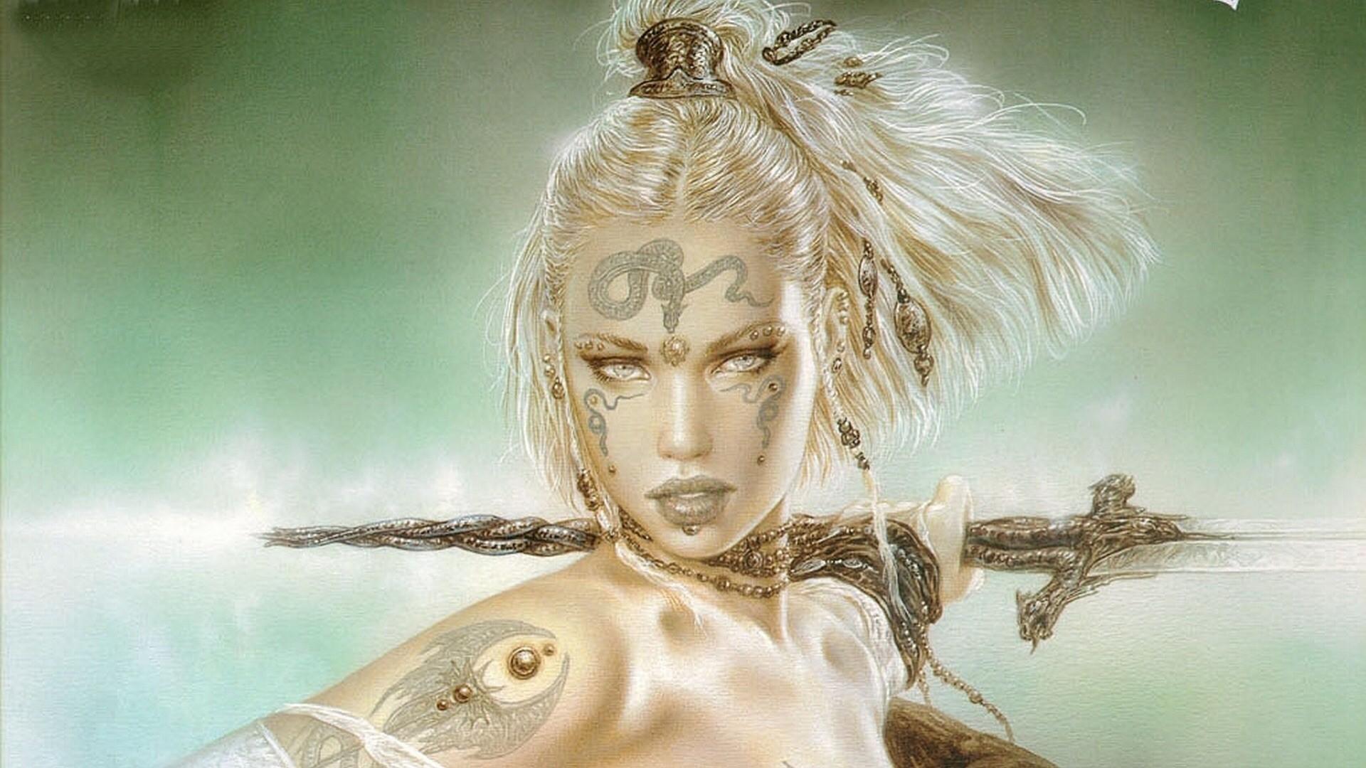 drawing fantasy art Luis Royo mythology sketch computer wallpaper fictional character woman warrior